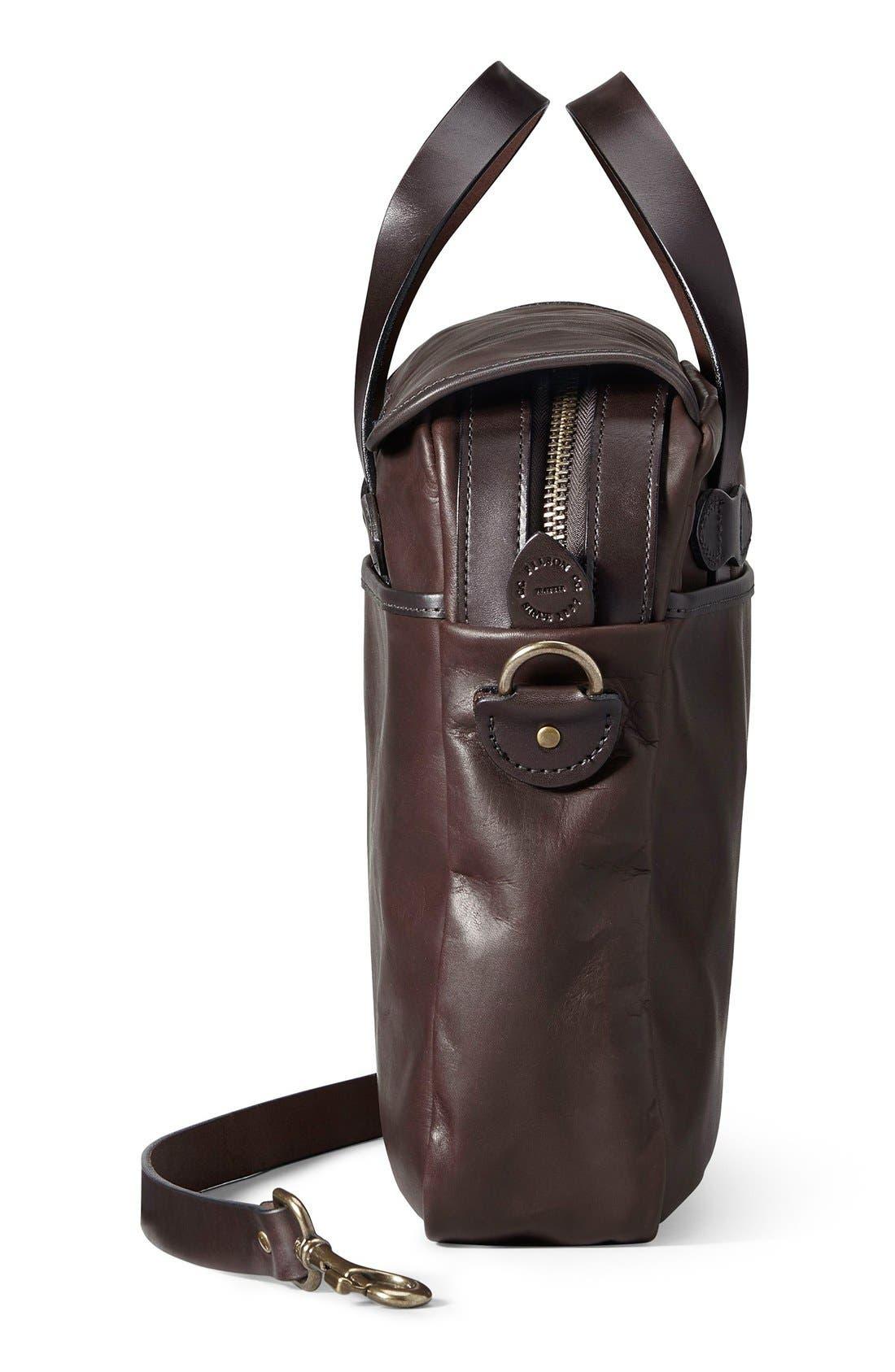 Weatherproof Leather Briefcase,                             Alternate thumbnail 4, color,                             Sierra Brown