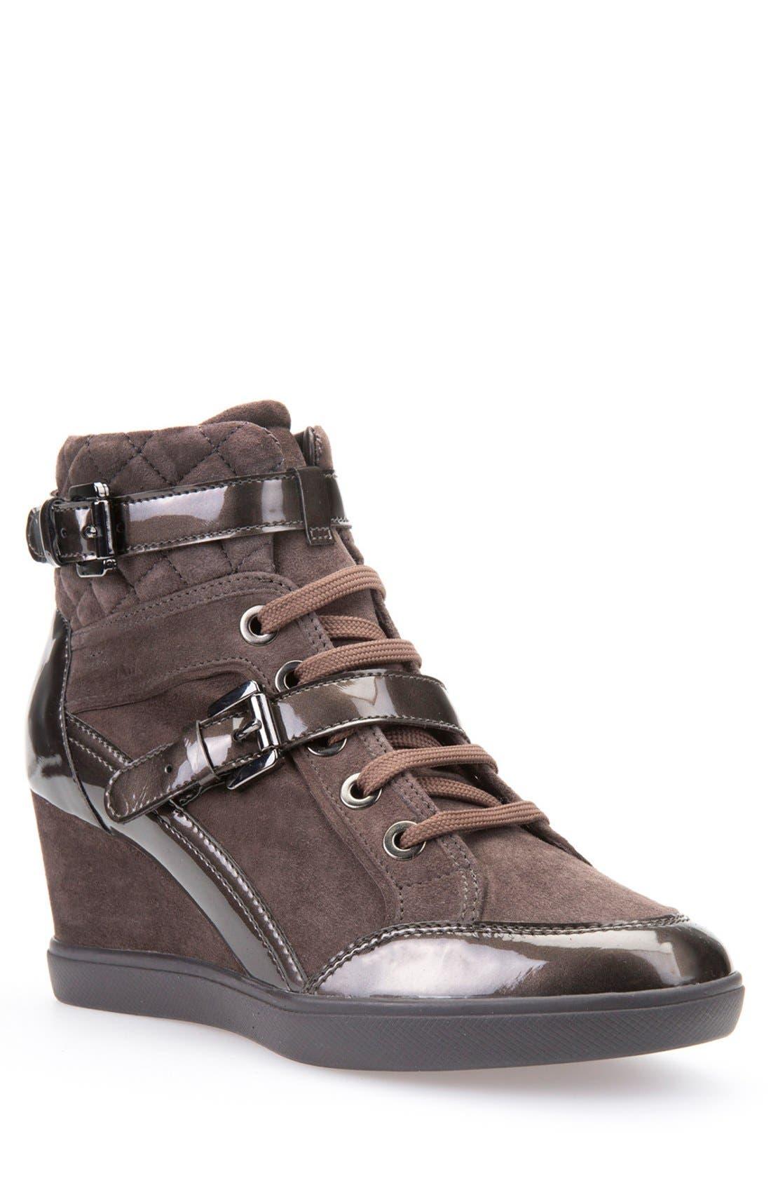 'Eleni' Wedge Sneaker,                             Main thumbnail 1, color,                             Chestnut Suede