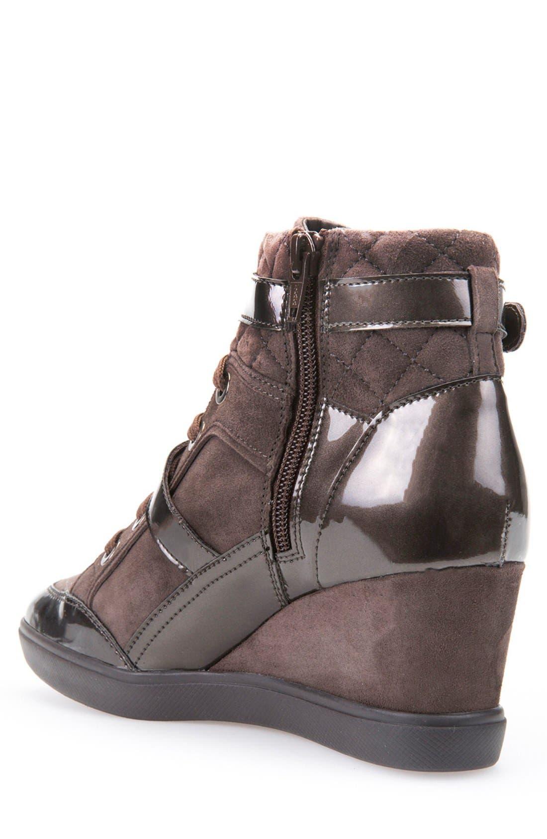 'Eleni' Wedge Sneaker,                             Alternate thumbnail 2, color,                             Chestnut Suede