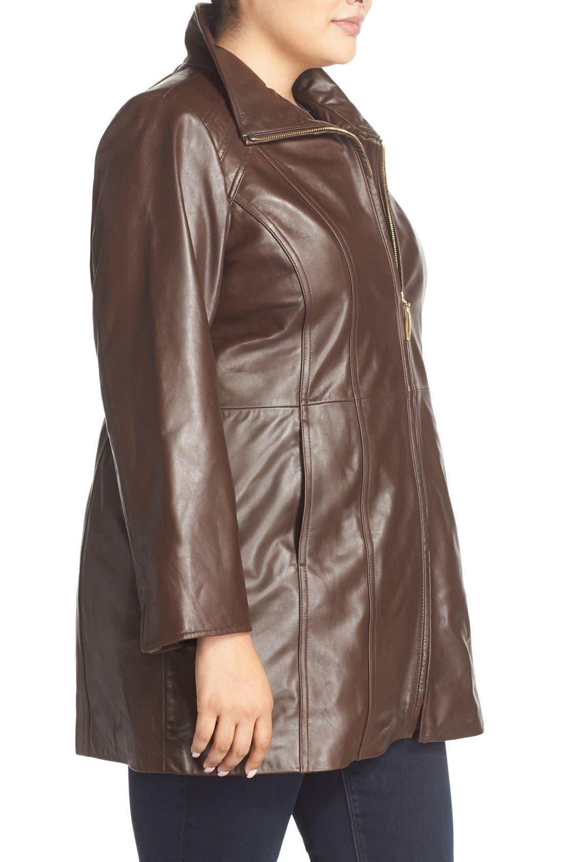 Alternate Image 3  - Ellen Tracy Leather Walking Coat (Plus Size)