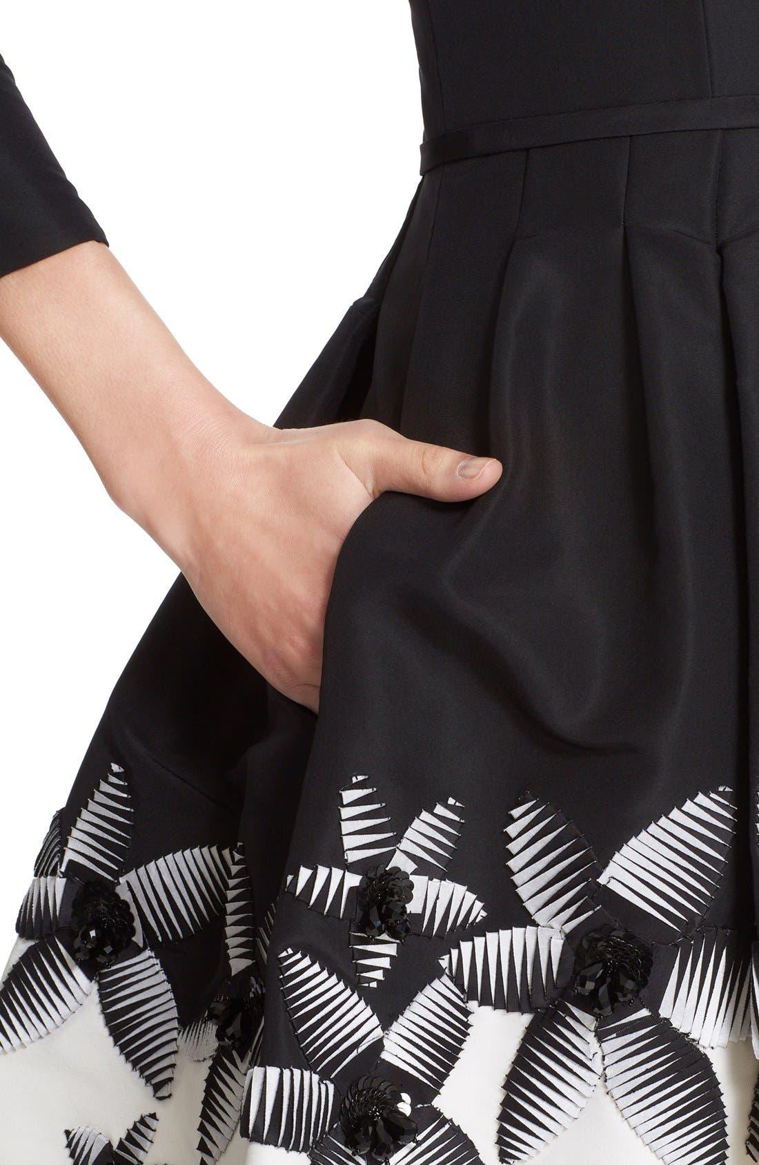 Alternate Image 5  - Carolina Herrera Embellished Two-Tone Scoop Neck Faille Fit & Flare Dress
