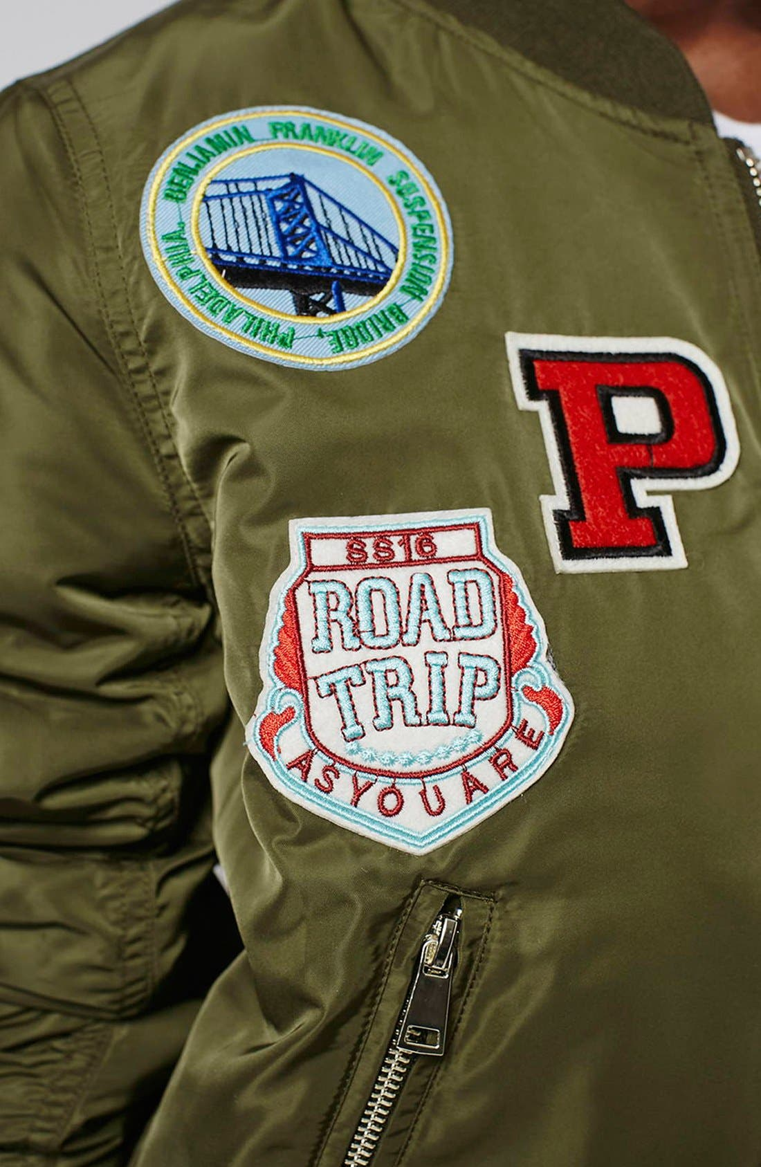 'Bruce' Patch Detail MA1 Bomber Jacket,                             Alternate thumbnail 5, color,                             Olive