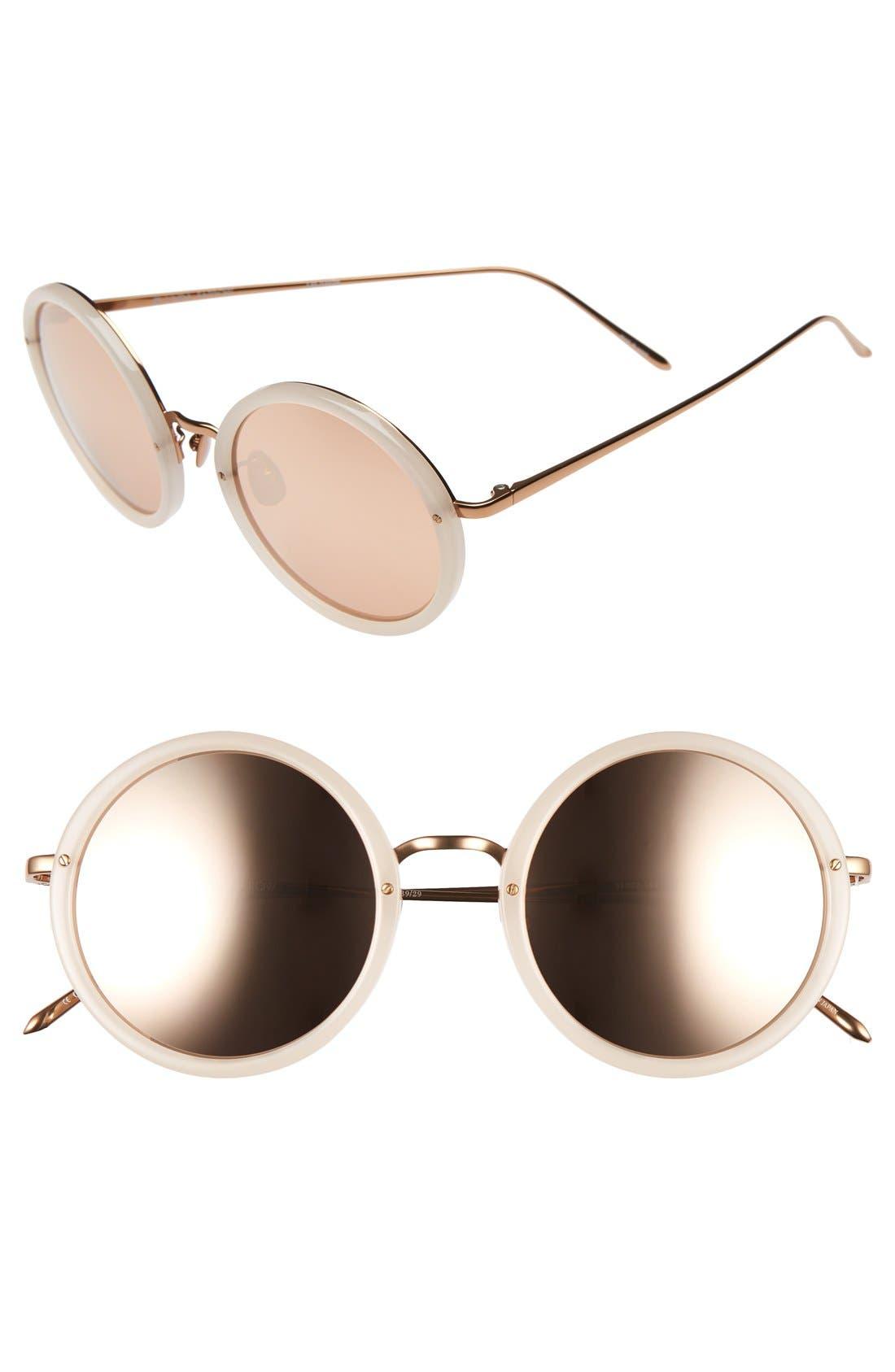 Linda Farrow 51mm Round 18 Karat Rose Gold Trim Sunglasses