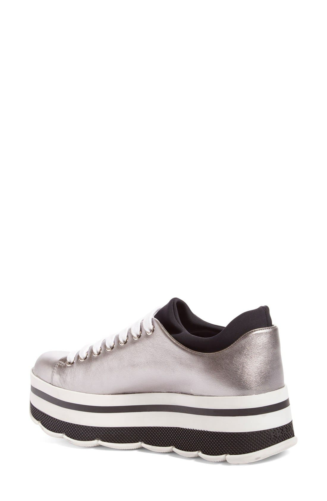 Platform Sneaker,                             Alternate thumbnail 2, color,                             Silver Leather
