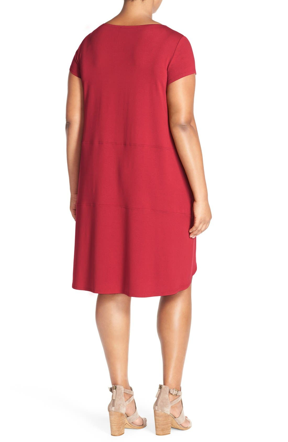 Alternate Image 2  - Eileen Fisher Bateau Neck Cap Sleeve Dress (Plus Size)