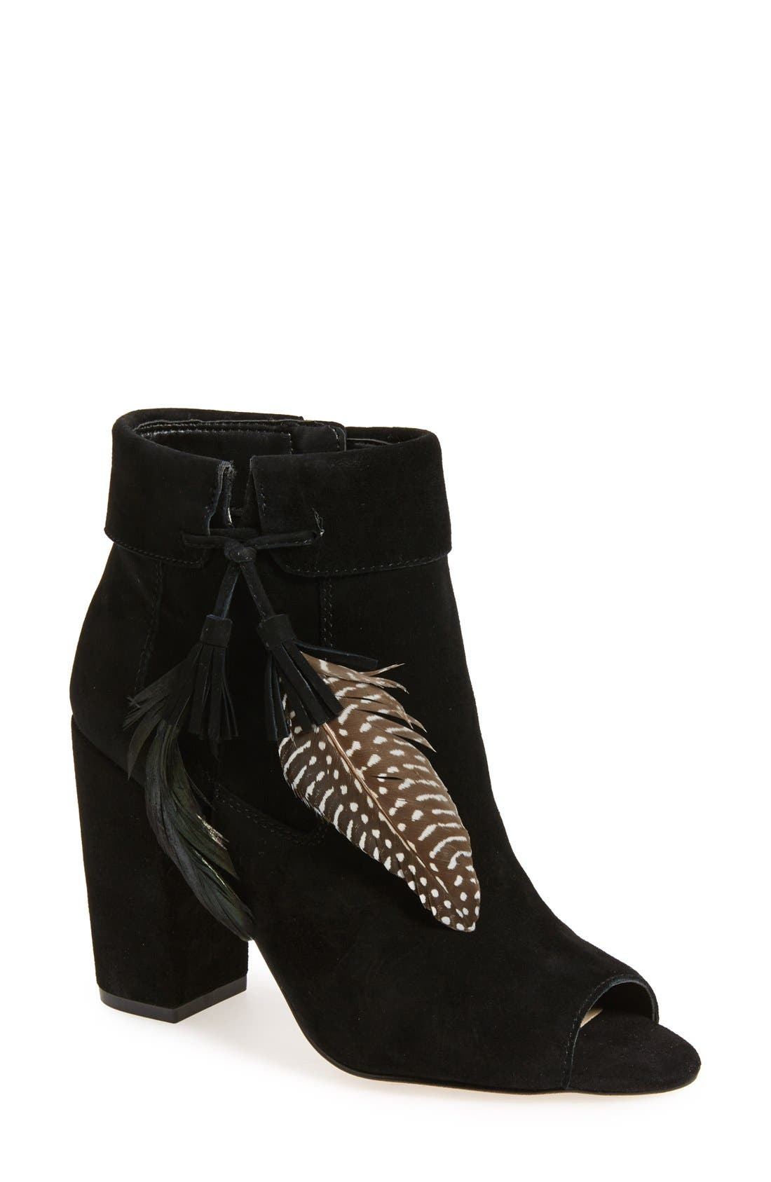 Alternate Image 1 Selected - Jessica Simpson 'Kailey' Feather Charm Peep Toe Bootie (Women)