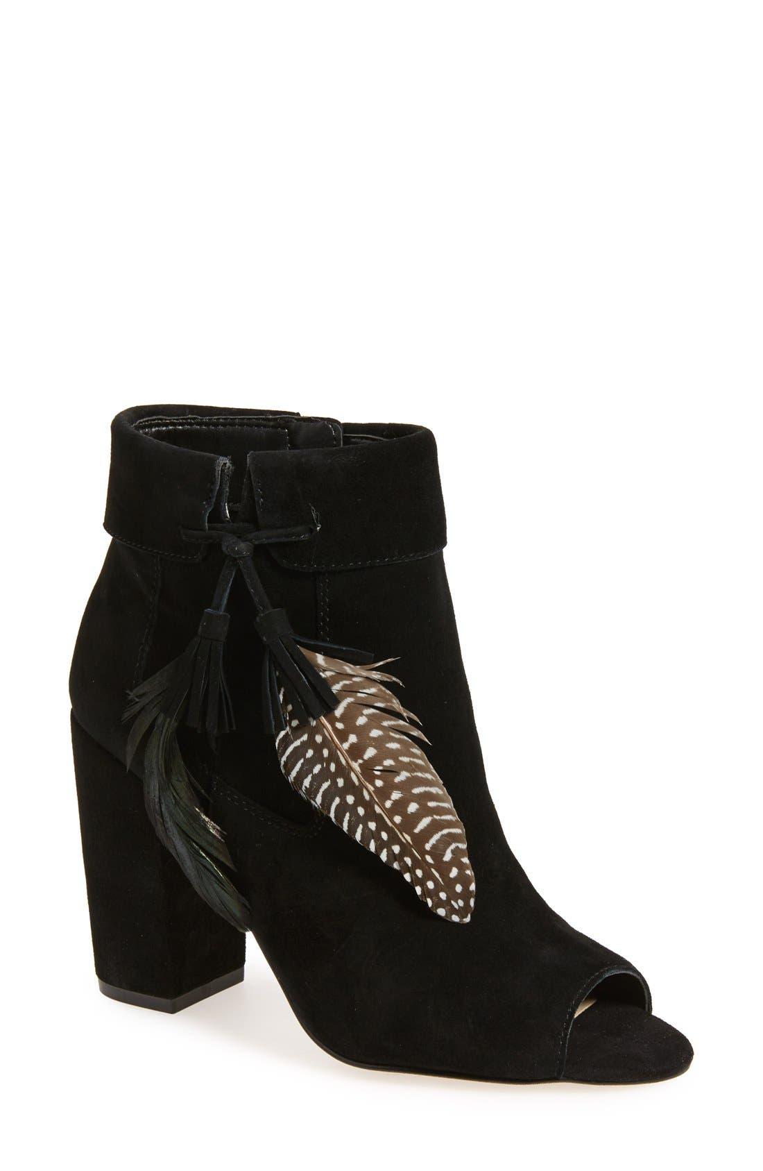 Main Image - Jessica Simpson 'Kailey' Feather Charm Peep Toe Bootie (Women)