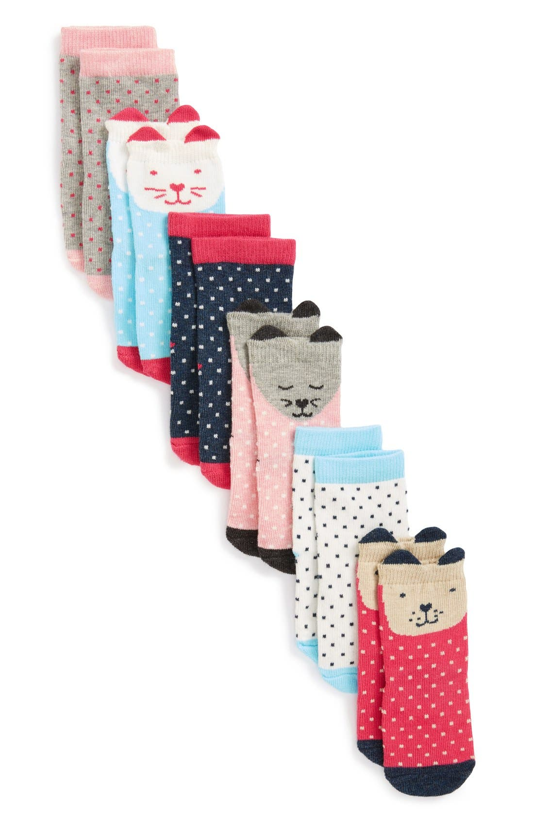 Tucker + Tate Print 6-Pack Crew Socks (Baby Girls)