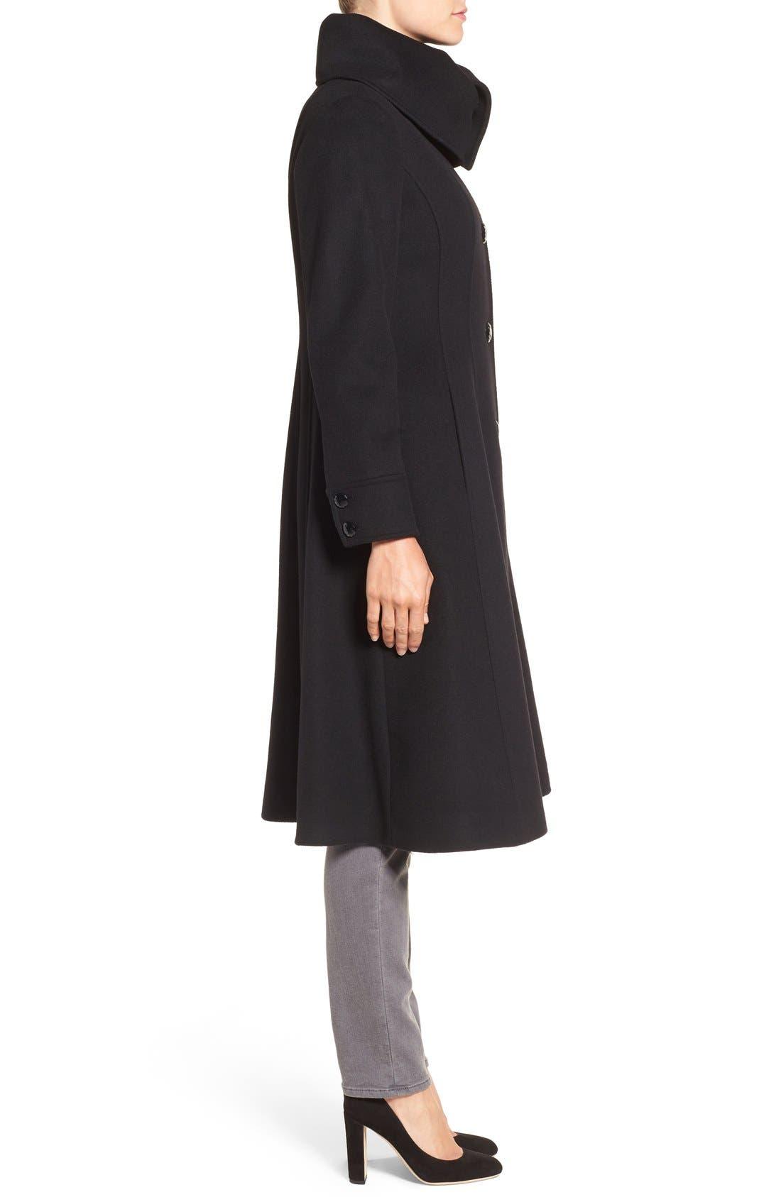 High Neck Wool Blend Long Coat,                             Alternate thumbnail 3, color,                             Black
