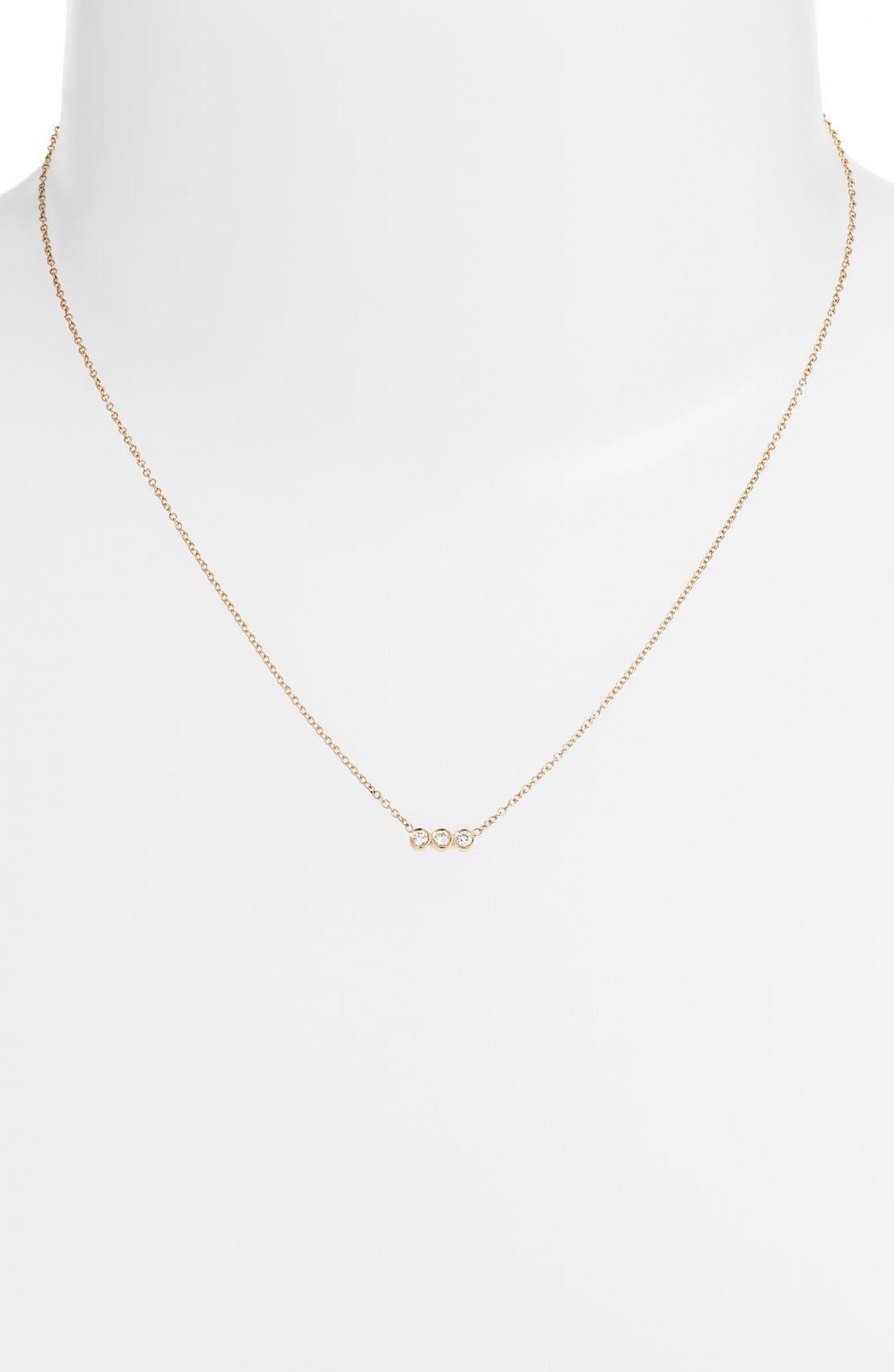 Alternate Image 2  - Zoë Chicco Diamond Bezel Pendant Necklace