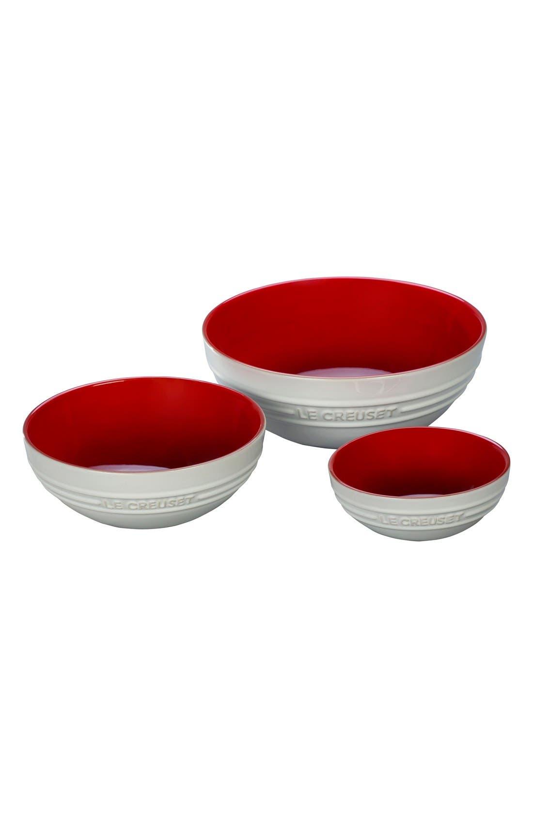 Stoneware Mixing Bowls,                         Main,                         color, Red