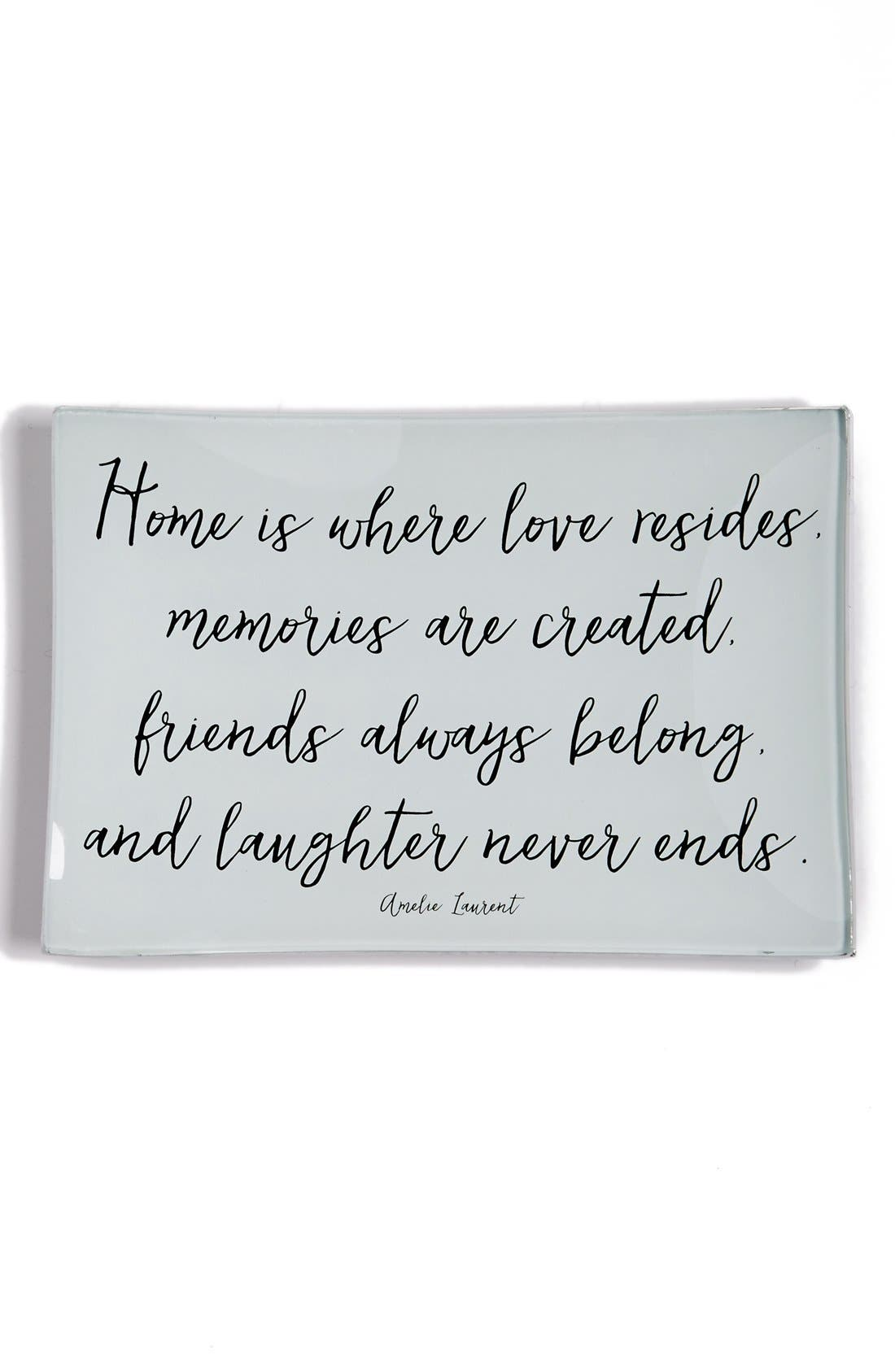 'Home Is Where Love Resides' Trinket Tray,                             Main thumbnail 1, color,                             Brown
