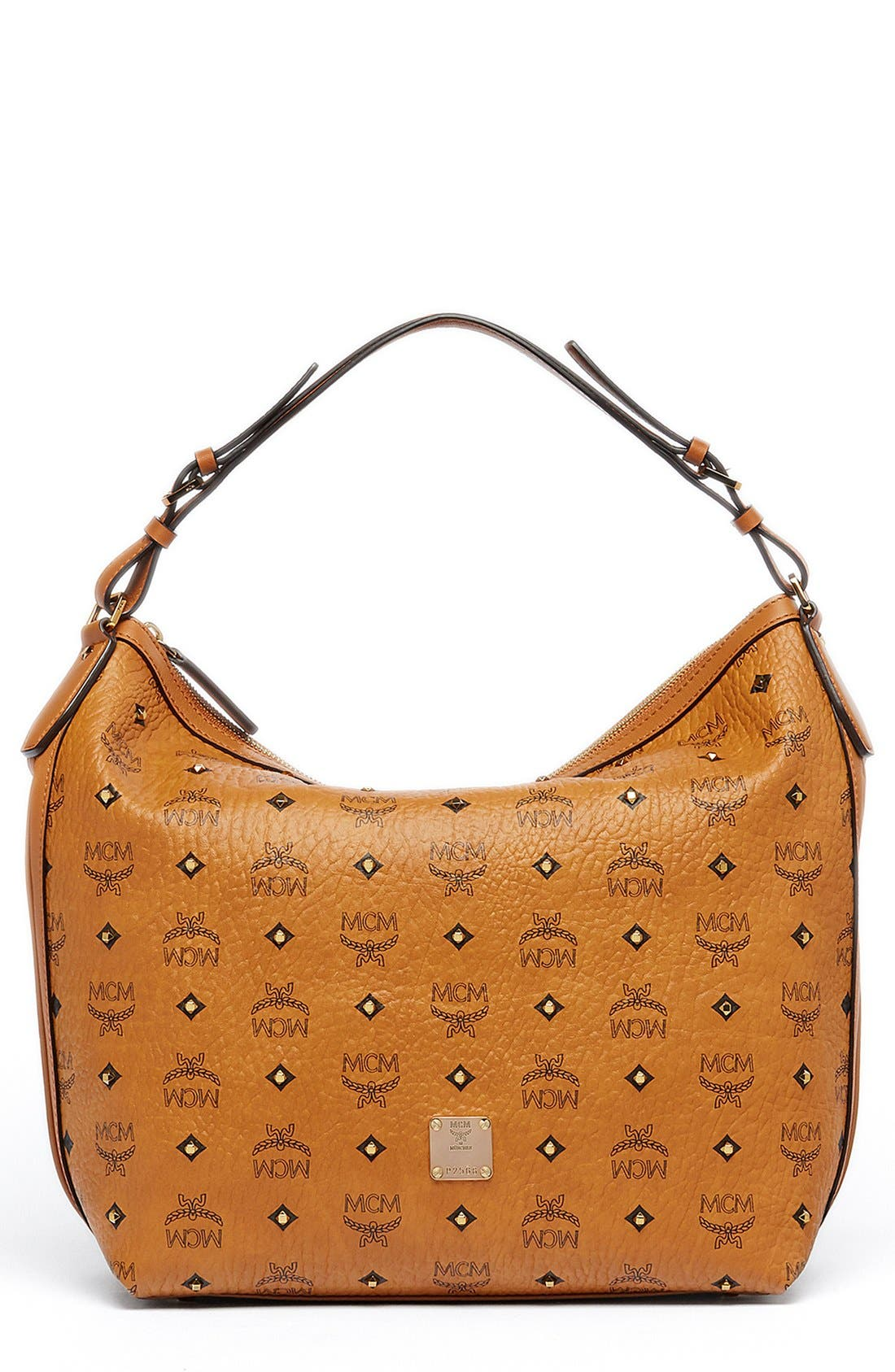 MCM 'Small Gold Visetos' Coated Canvas Hobo