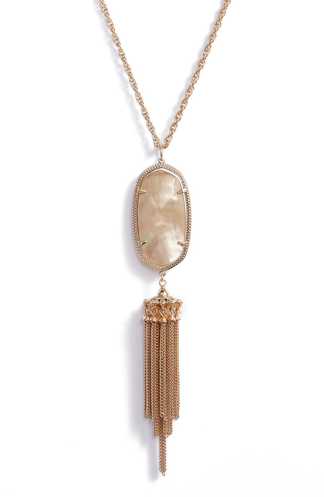Rayne Stone Tassel Pendant Necklace,                             Alternate thumbnail 2, color,                             Brown Mop/ Rose Gold
