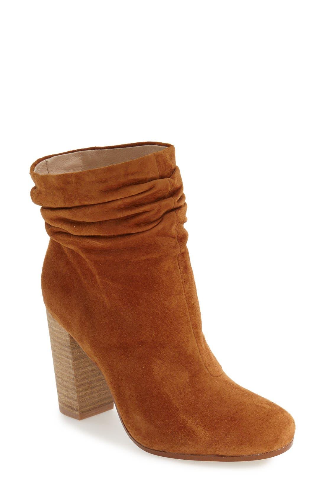Georgie Block Heel Boot,                             Main thumbnail 1, color,                             Caramel Suede