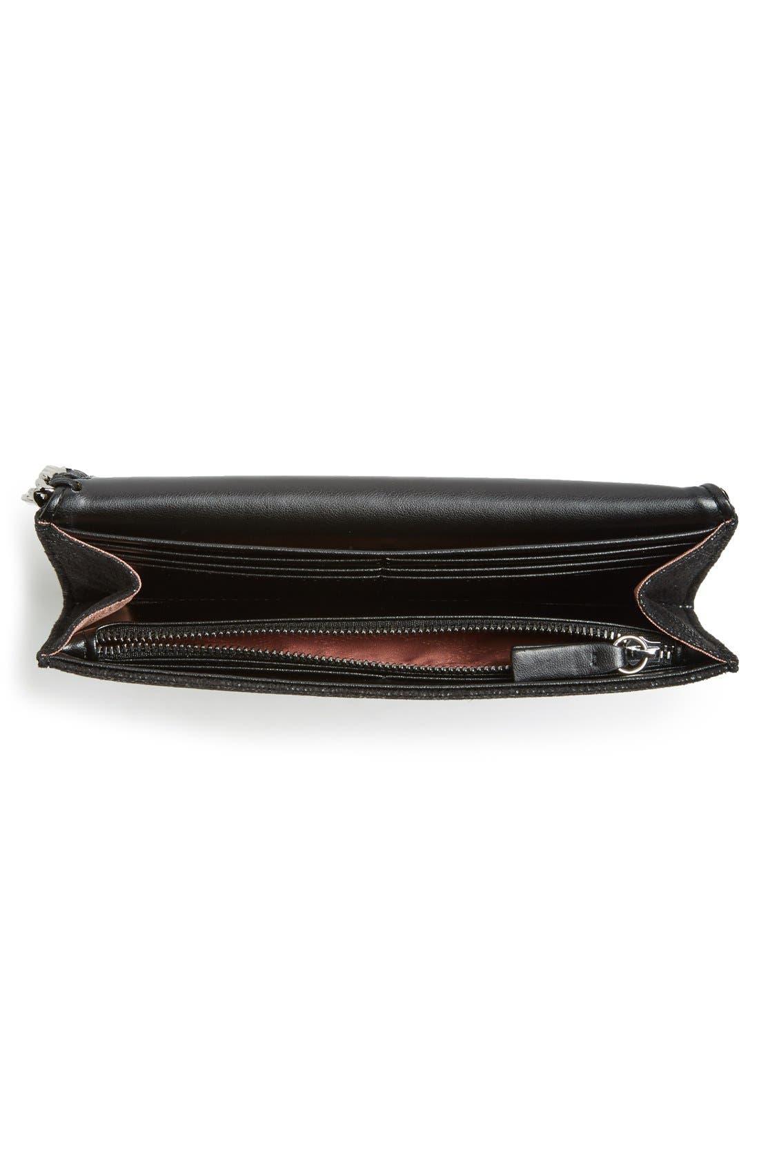 'Falabella - Rainbow POP' Faux Leather Continental Wallet,                             Alternate thumbnail 2, color,                             Black