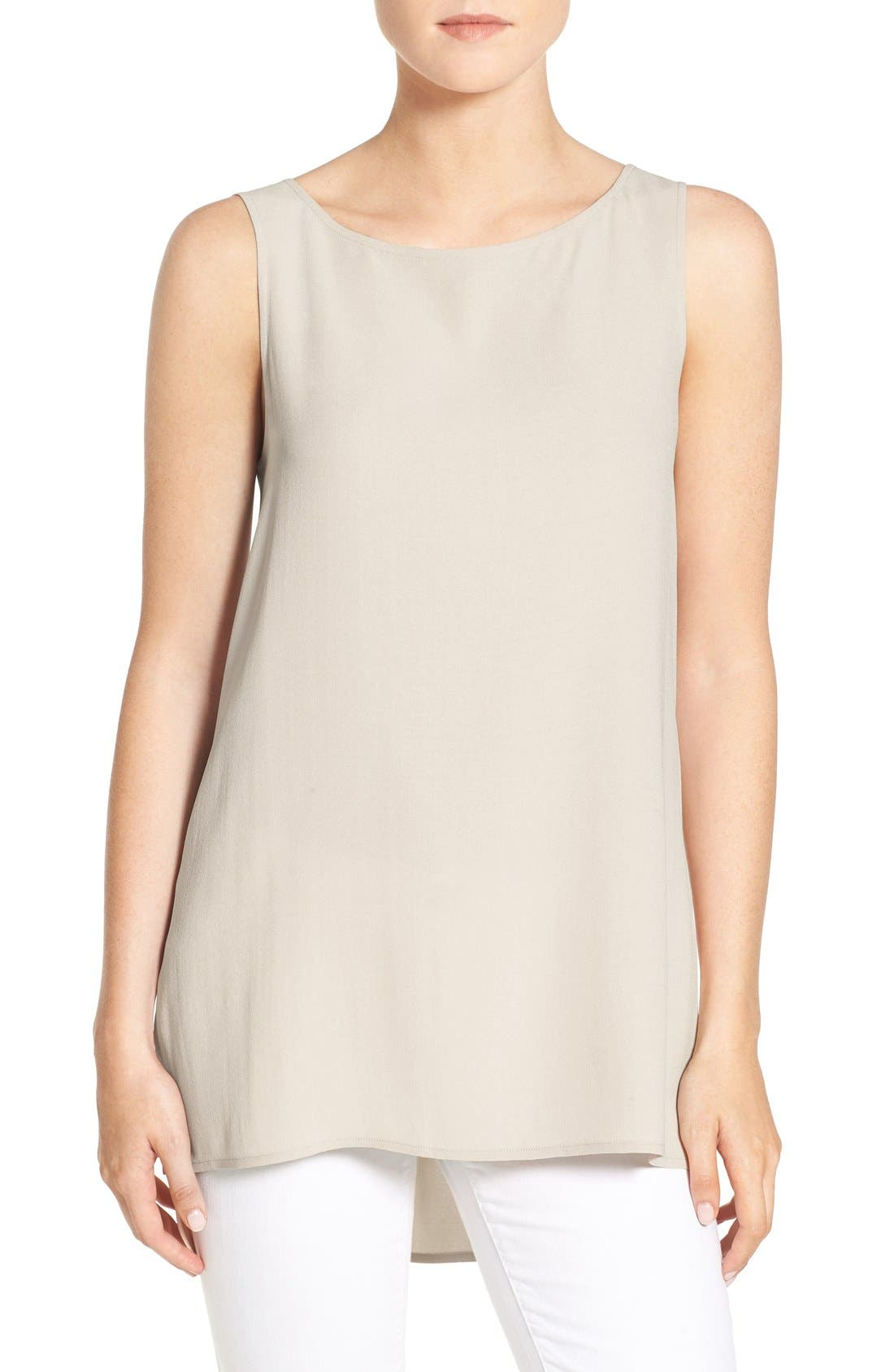 Main Image - Eileen Fisher Long Bateau Neck Silk Shell (Regular & Petite)