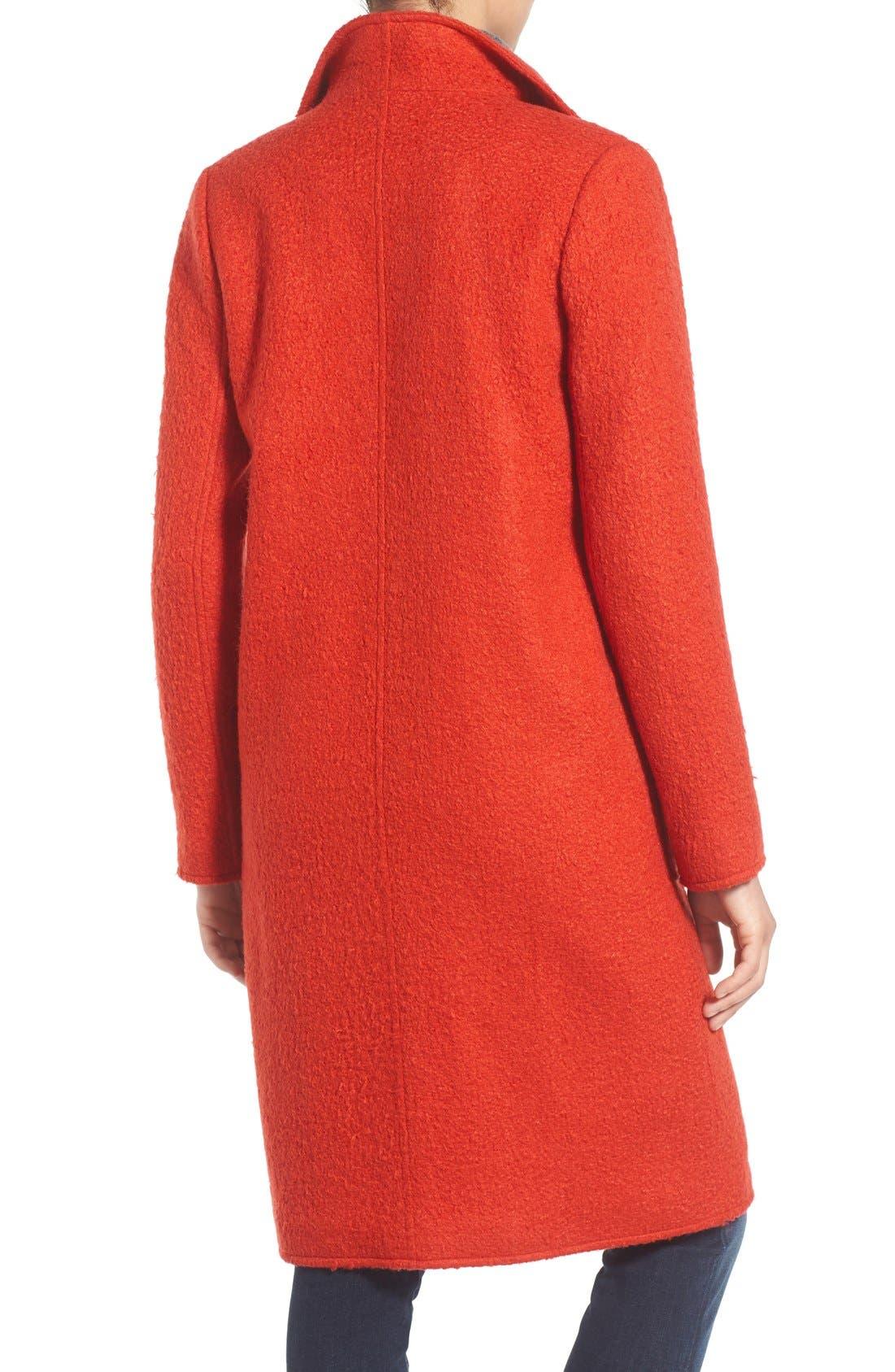 Alternate Image 2  - Bernardo Textured Long Coat (Regular & Petite)