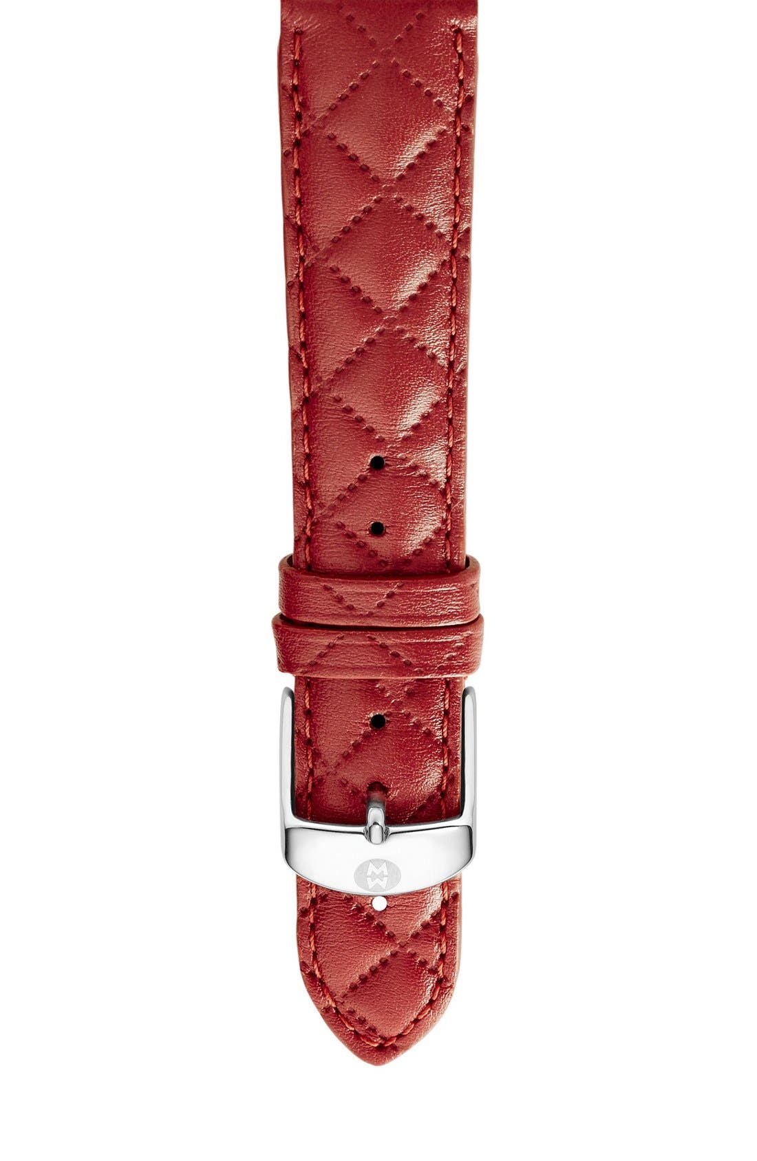 16mm Quilted Leather Strap Watch,                             Main thumbnail 1, color,                             Red