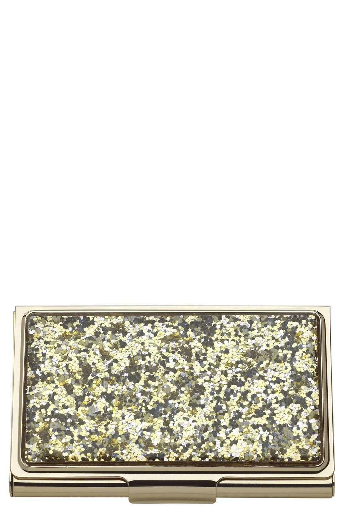glitter business card holder,                         Main,                         color, Metallic Gold