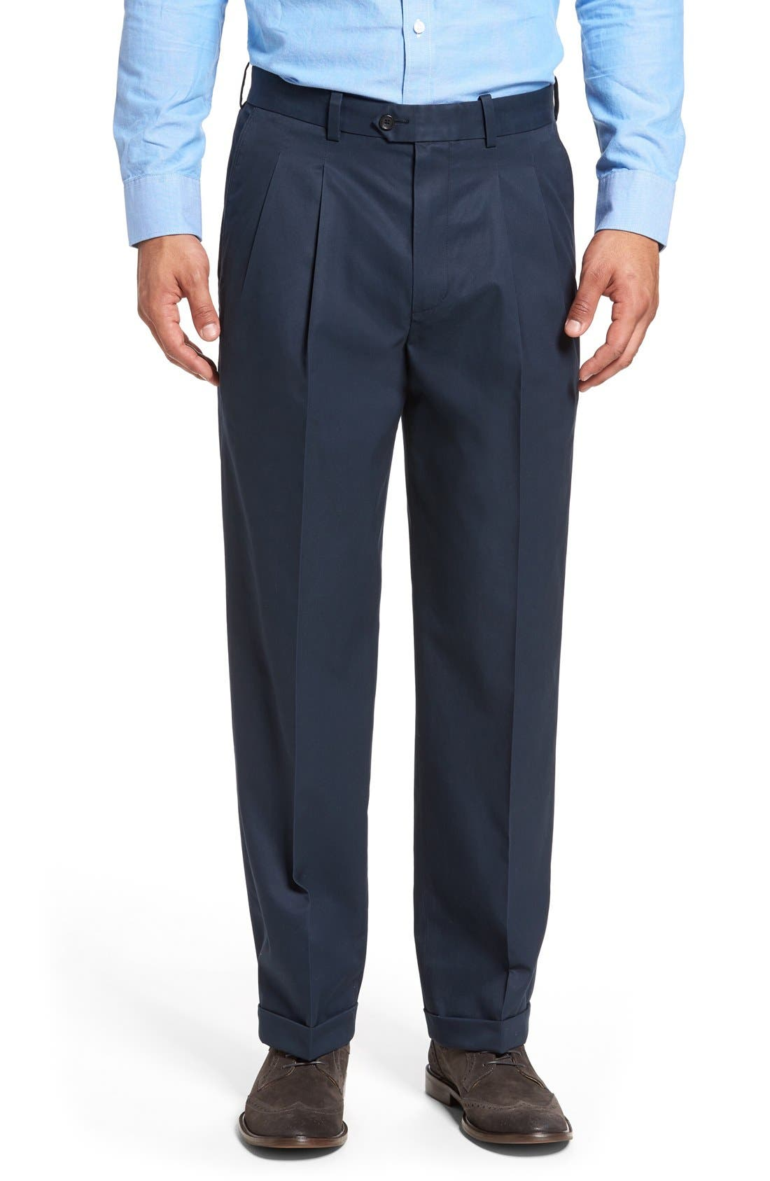 Nordstrom Men's Shop Classic Smartcare™ Supima® Cotton Pleated Trousers