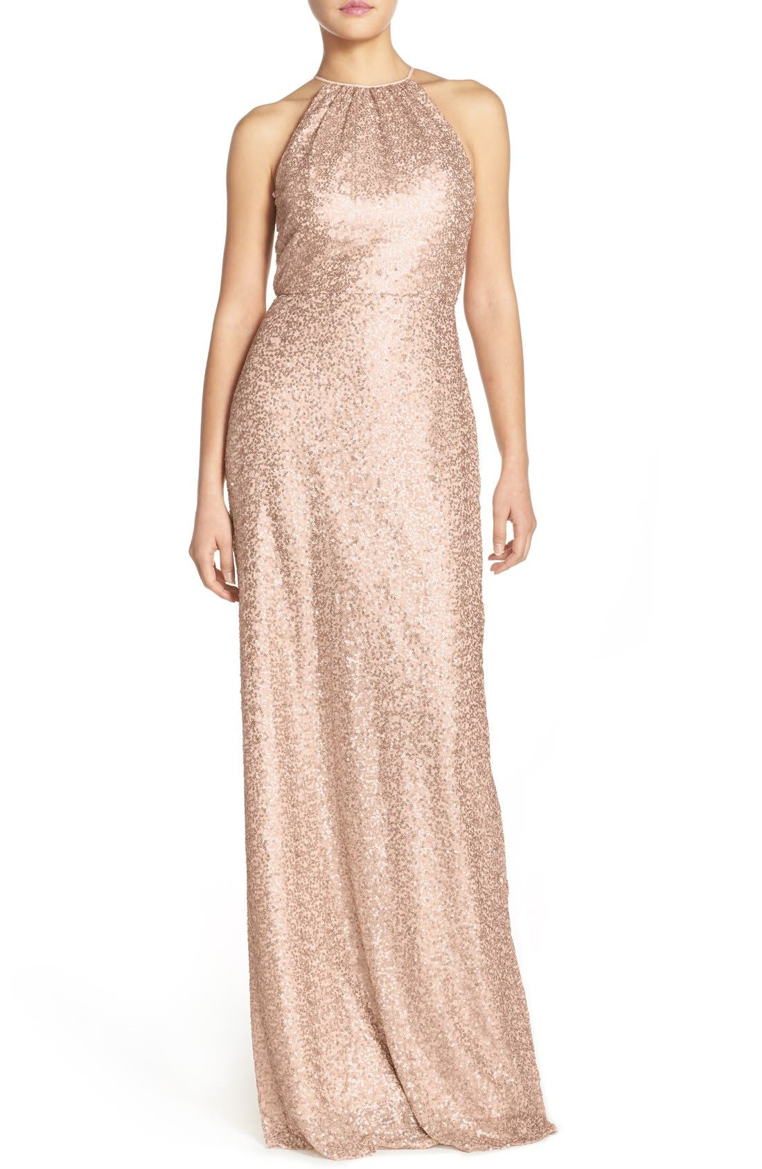 'Chandler' Sequin Tulle Halter Style Gown,                         Main,                         color, Latte