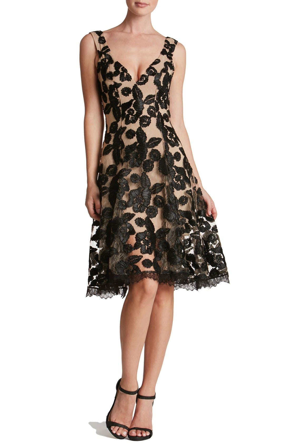 Maya Lace Fit & Flare Dress,                         Main,                         color, Nude/ Black