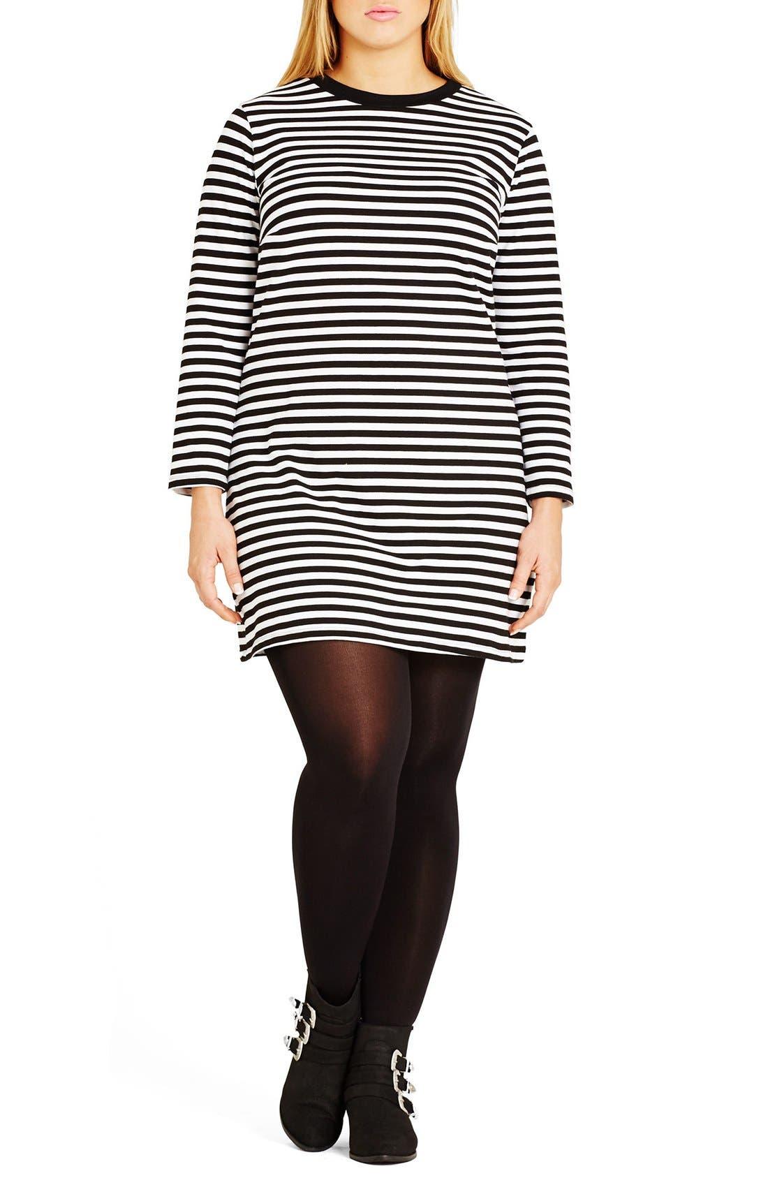 'Mono Magic' Stripe Stretch Cotton Tunic,                             Main thumbnail 1, color,                             Black