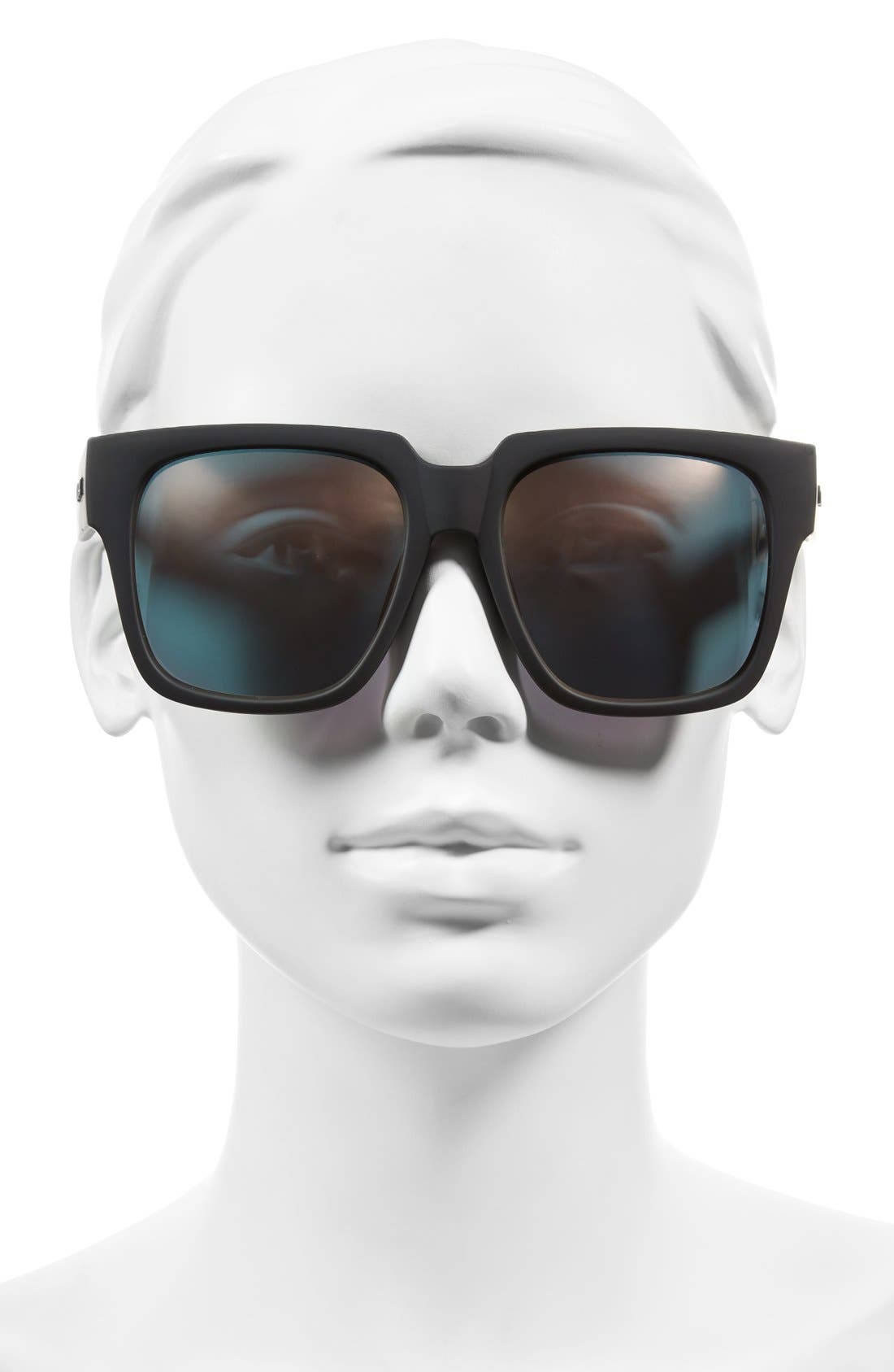 'On the Prowl' 55mm Square Sunglasses,                             Alternate thumbnail 2, color,                             Black/ Pink Mirror