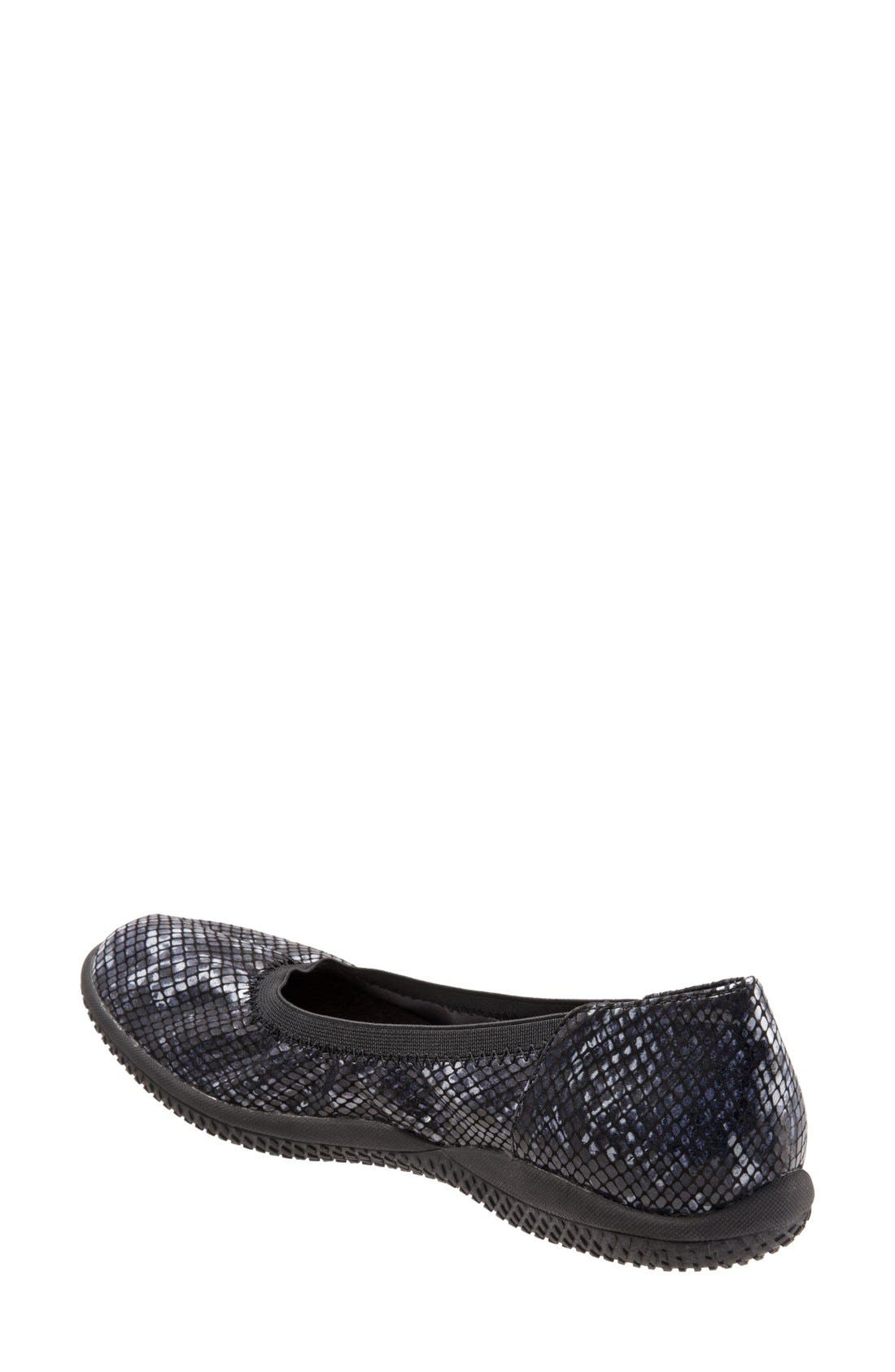 'Hampshire' Dot Perforated Ballet Flat,                             Alternate thumbnail 3, color,                             Black Python Print Leather