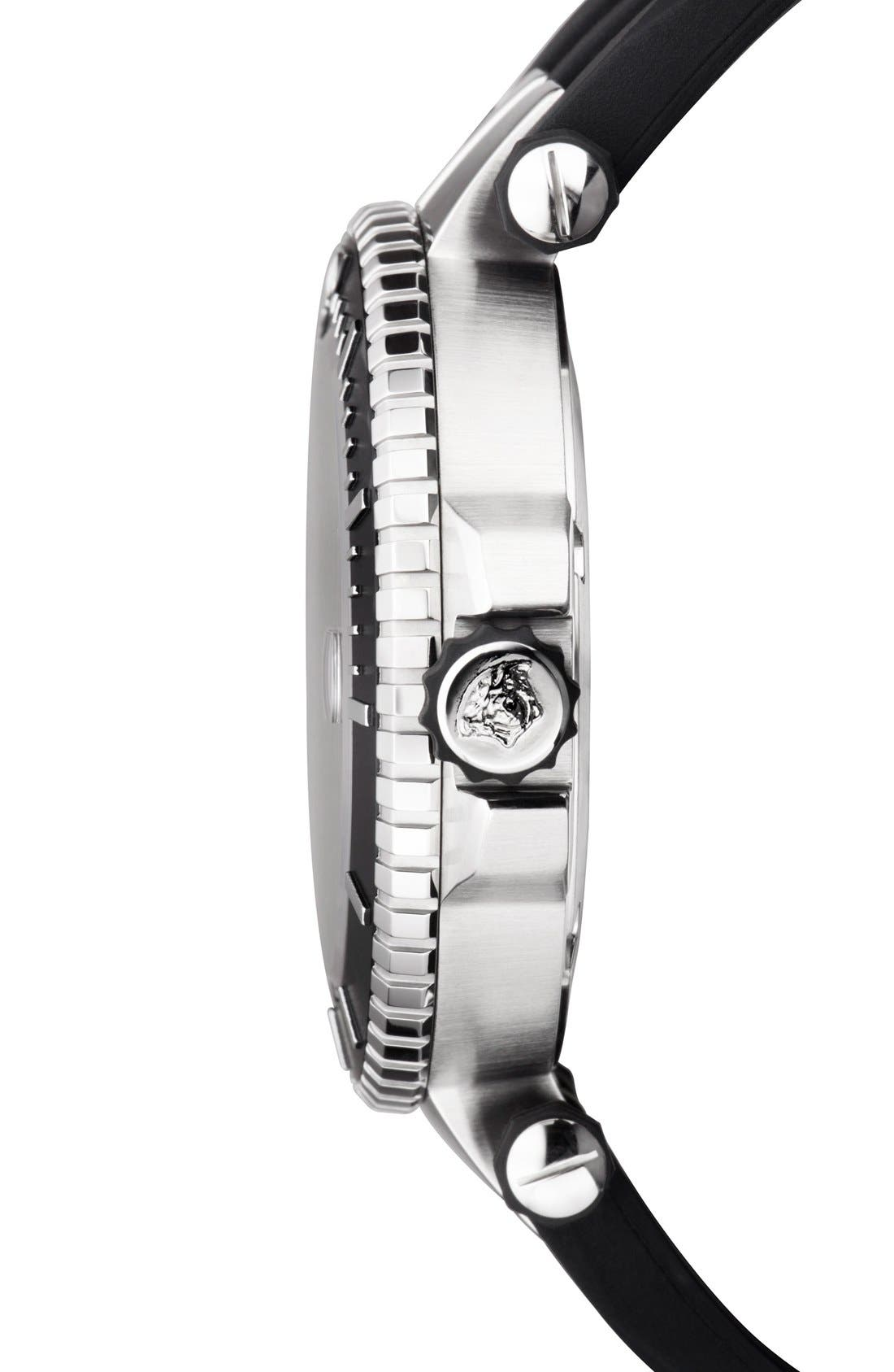 Alternate Image 3  - Versace 'V-Race Diver' Silicone Strap Watch, 46mm