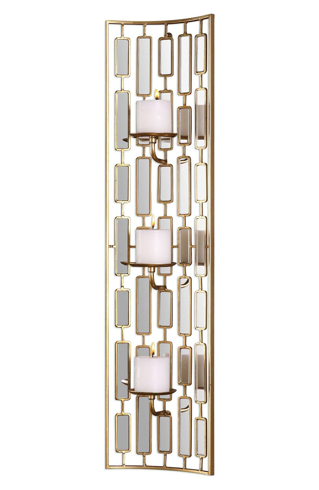 Mirrored Candleholder Wall Sconce,                         Main,                         color, Metallic Gold