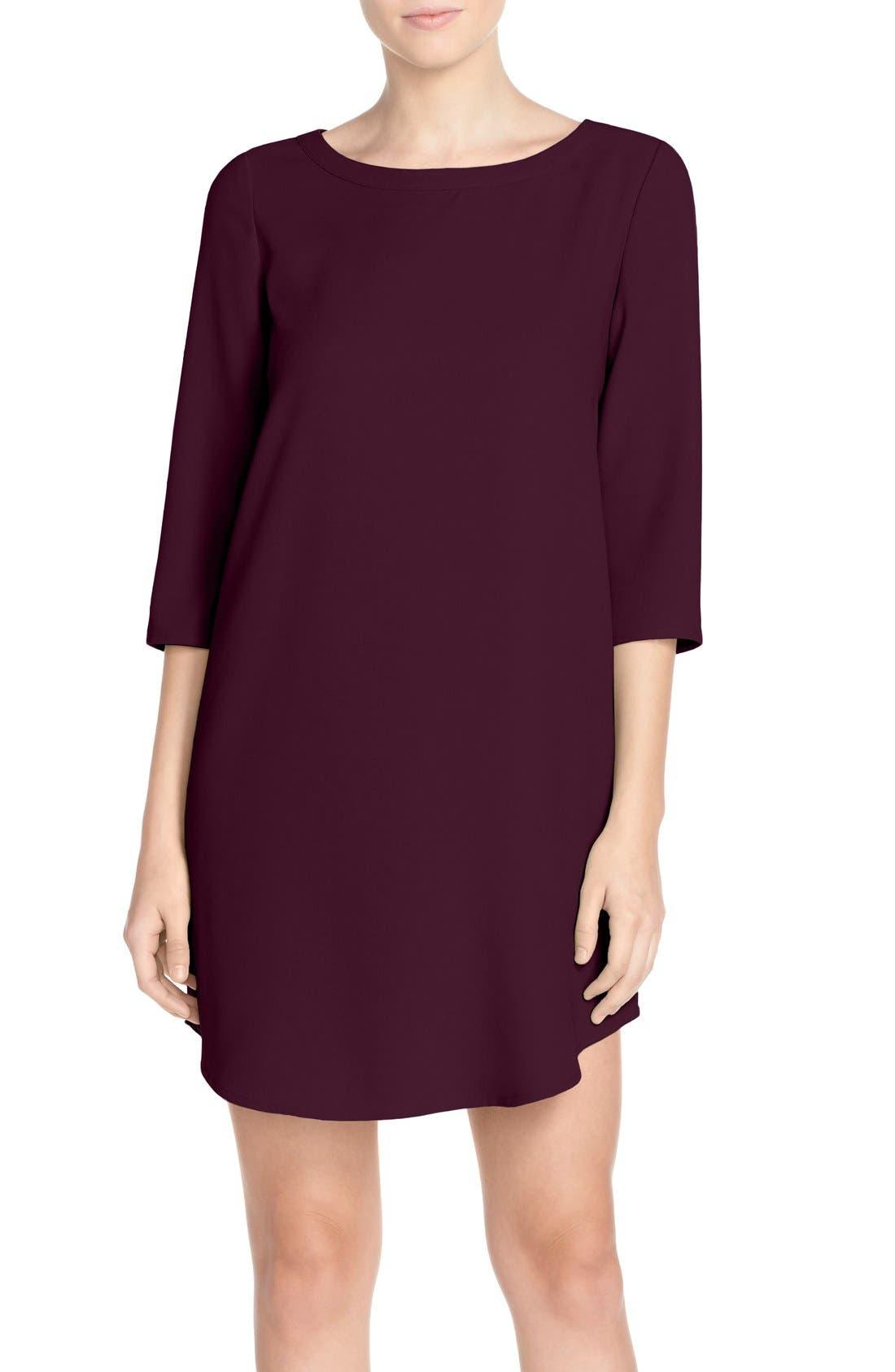 'Jazlyn' Crepe Shift Dress,                         Main,                         color, Aubergine