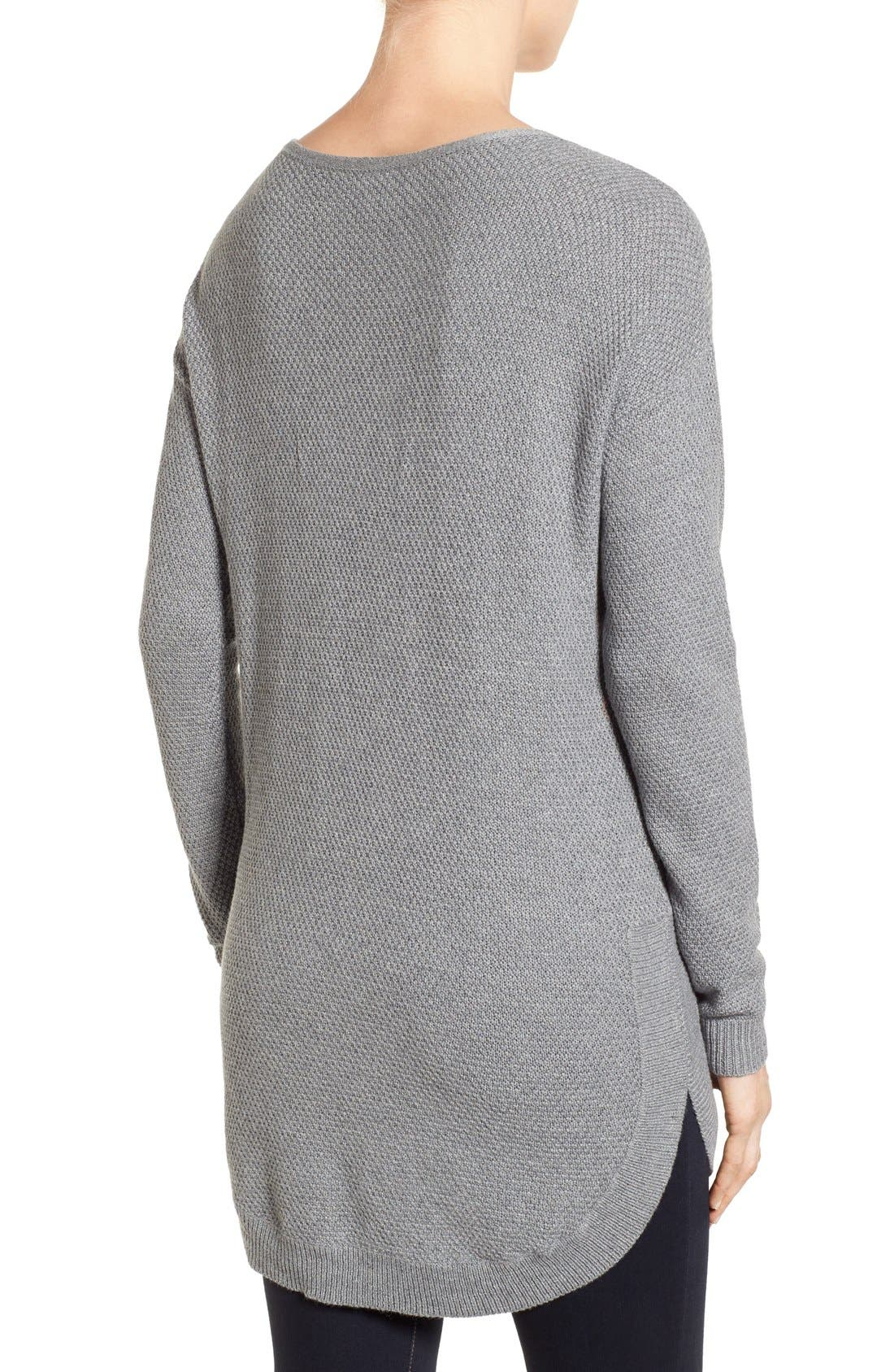 Texture Knit Tunic,                             Alternate thumbnail 2, color,                             Grey Texture Pattern