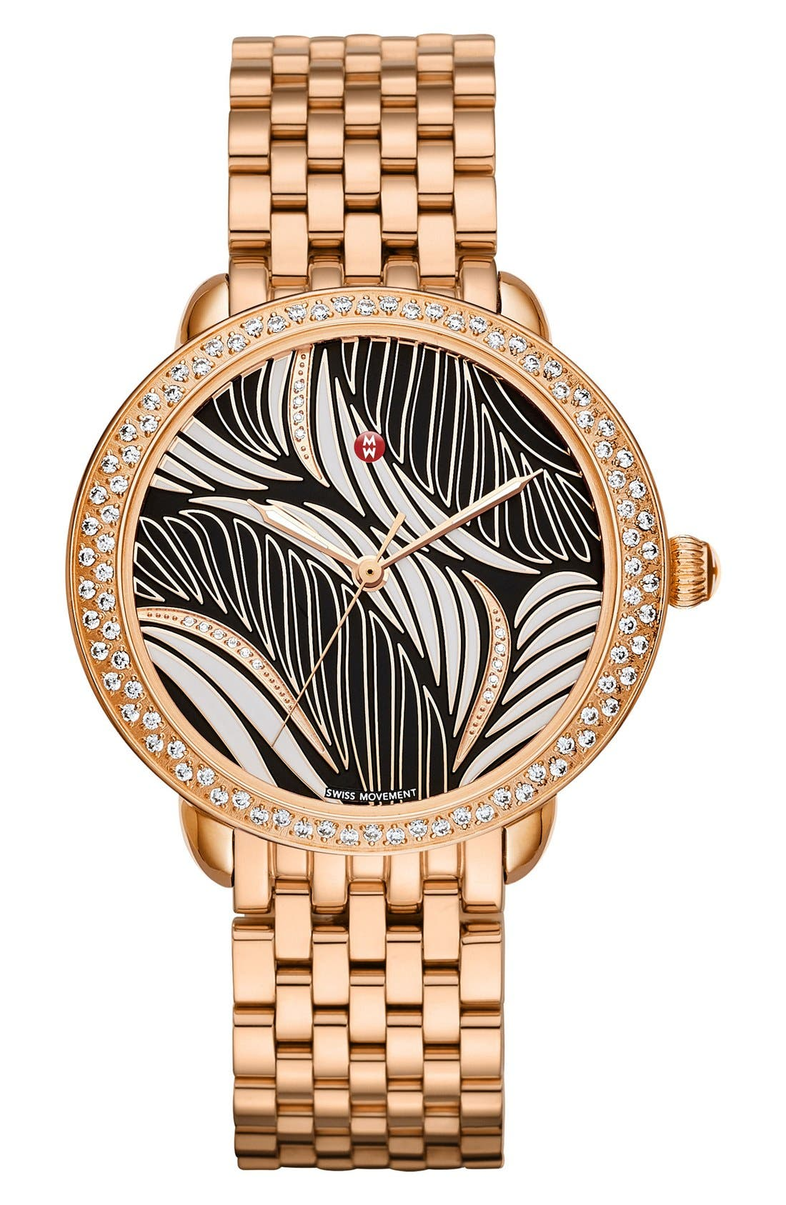 Serein 16 Diamond Watch Case, 34mm x 36mm,                             Alternate thumbnail 2, color,                             Rose Gold/ Black And White