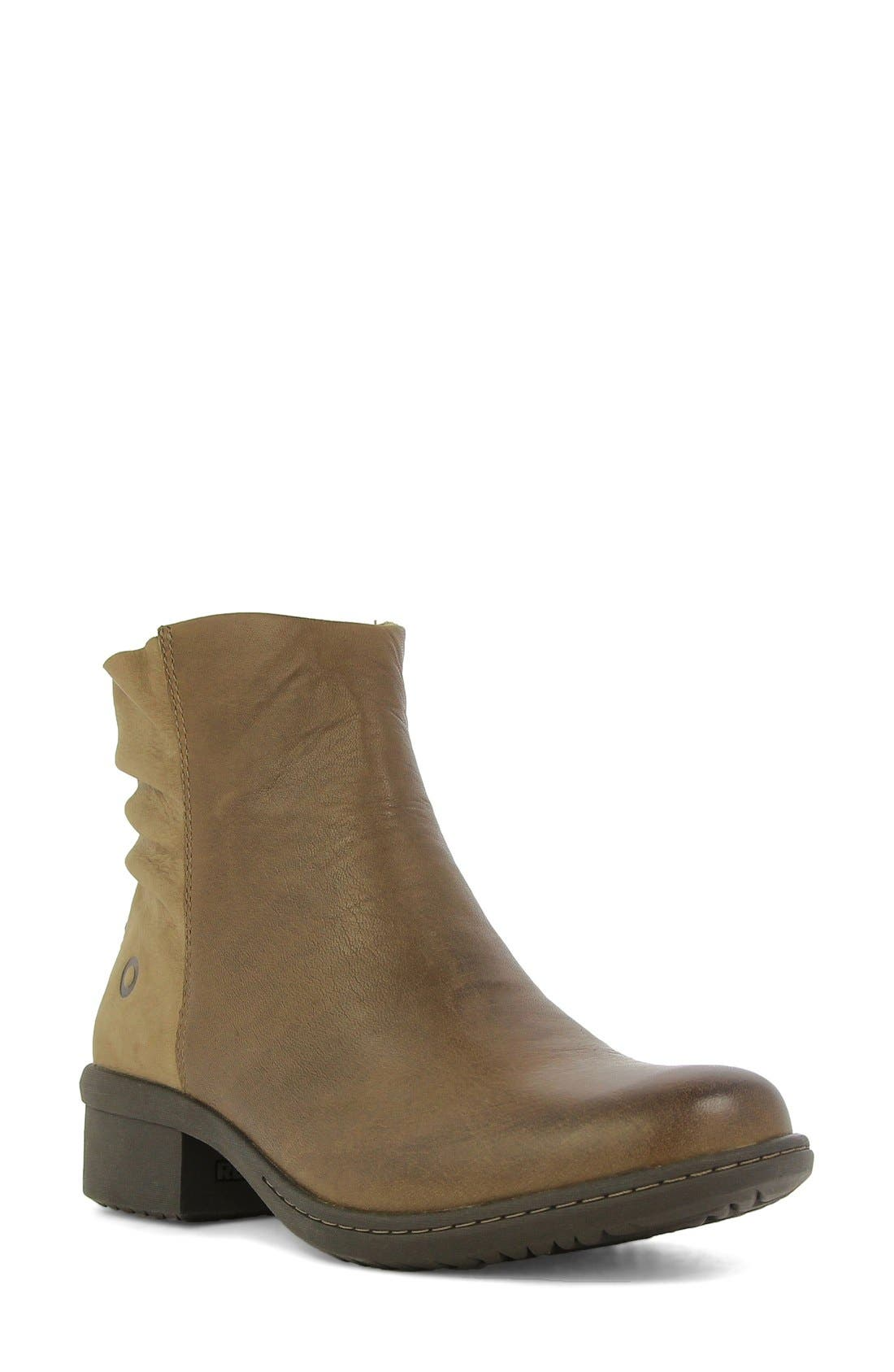 'Carly' Waterproof Short Boot,                             Main thumbnail 1, color,                             Hazelnut Leather