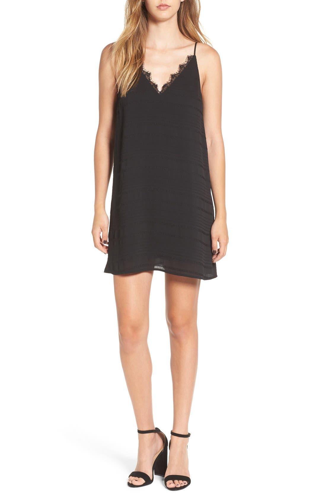 Lace Trim Slipdress,                         Main,                         color, Black