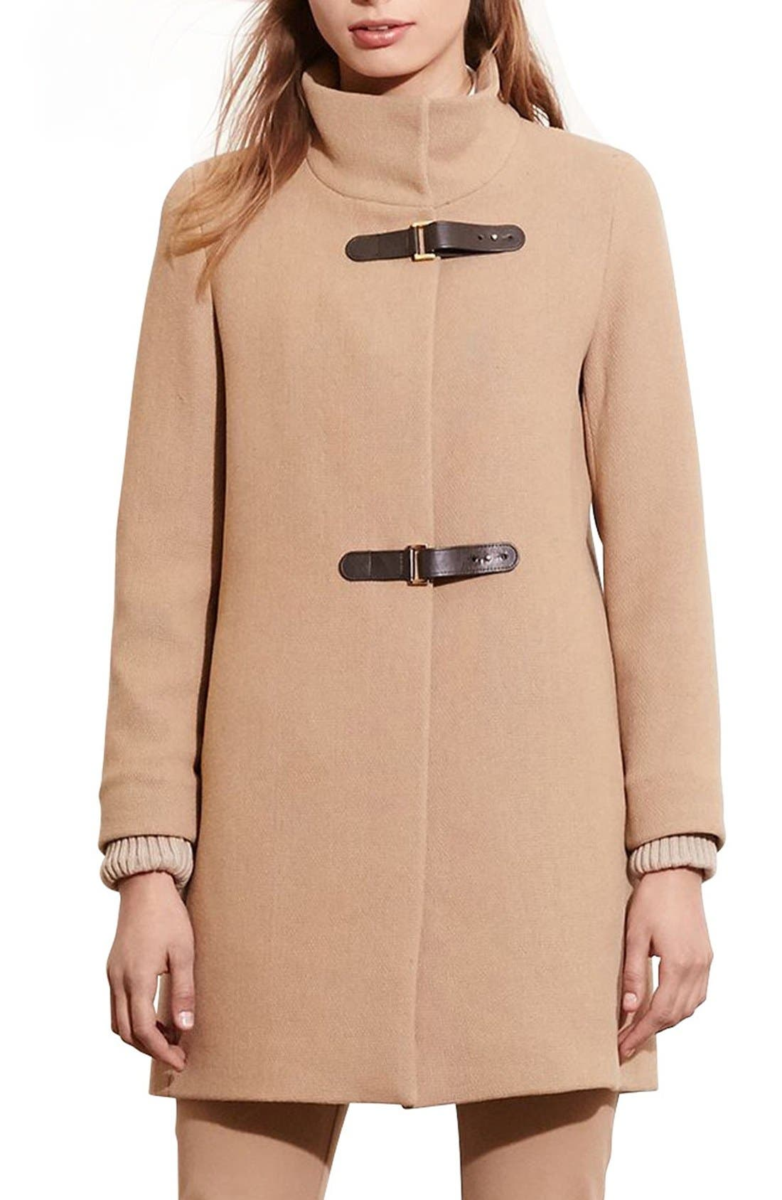Main Image - Lauren Ralph Lauren Funnel Neck Wool Coat