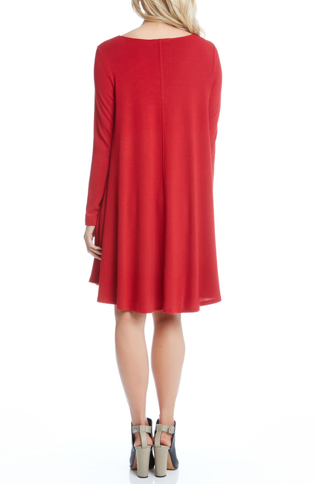'Maggie' Trapeze Sweater Dress,                             Alternate thumbnail 2, color,                             Red
