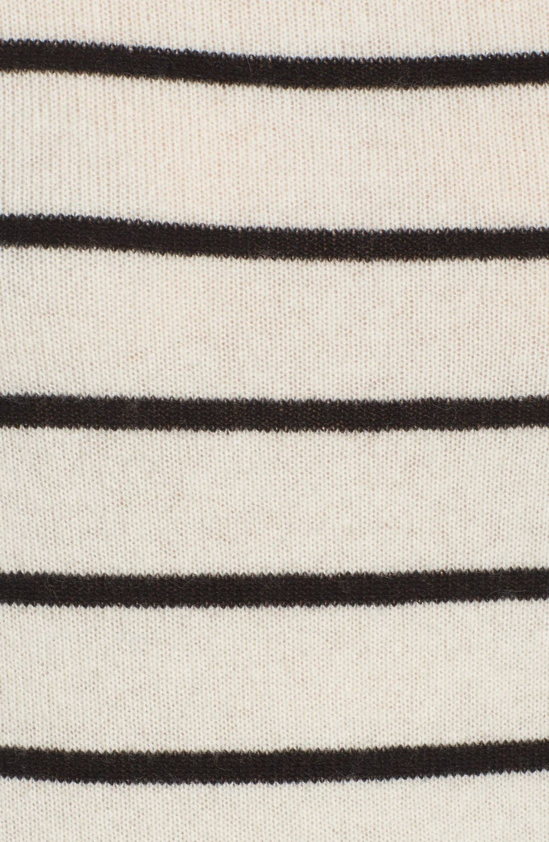 Wool & Cashmere Funnel Neck Sweater,                             Alternate thumbnail 5, color,                             Ivory- Black Stripe