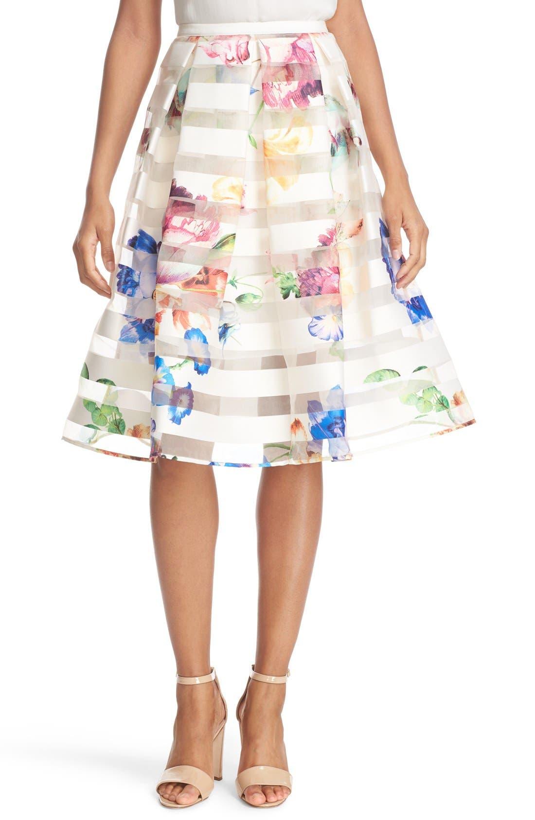 Main Image - Ted Baker London 'Hoona' Burnout Stripe Pleated Skirt