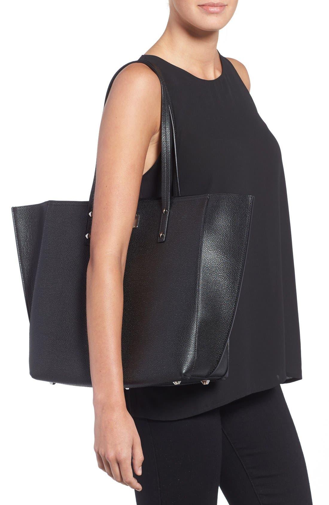 'Medium Sophie' Leather Shopper,                             Alternate thumbnail 2, color,                             Black