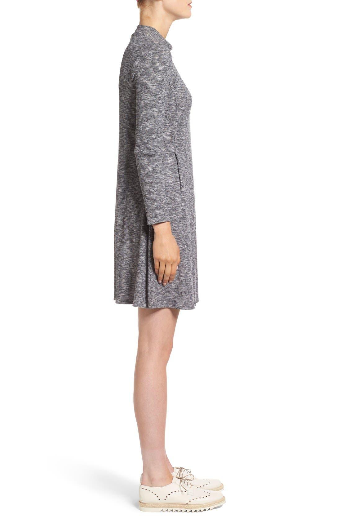 Mock Neck Marled Knit Dress,                             Alternate thumbnail 3, color,                             Heather Gravel