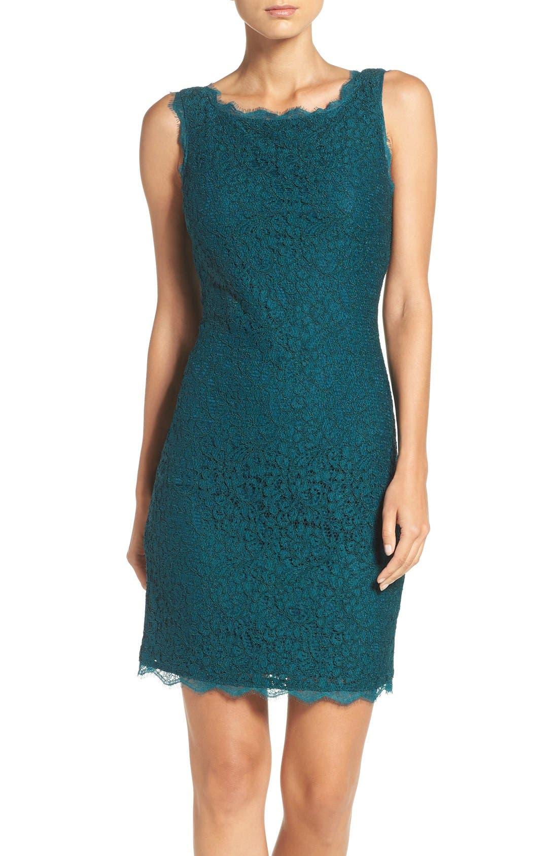 Boatneck Lace Sheath Dress,                         Main,                         color, Hunter