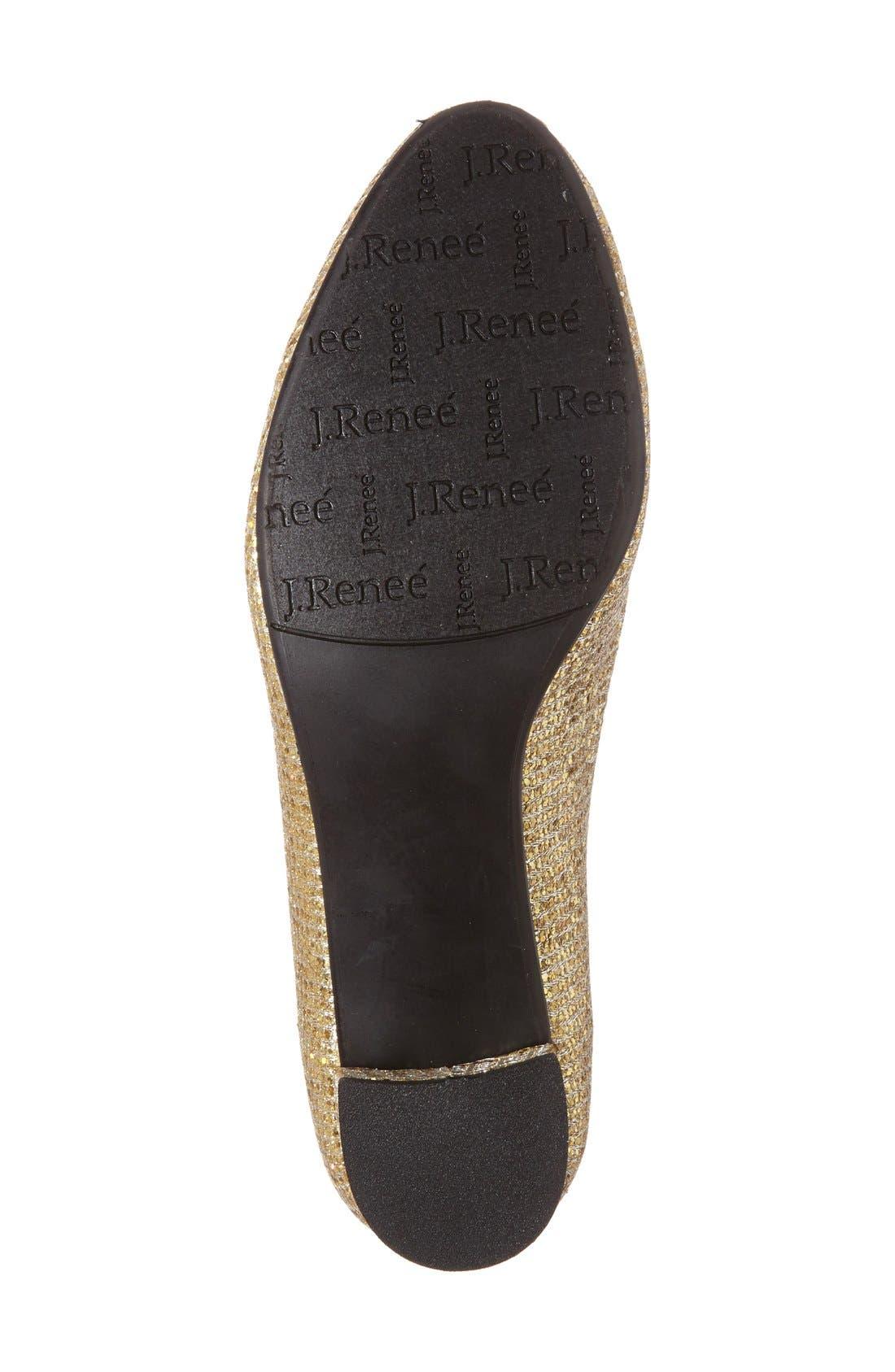 'Bambalina' Block Heel Glitter Pump,                             Alternate thumbnail 4, color,                             Gold Glitter Fabric