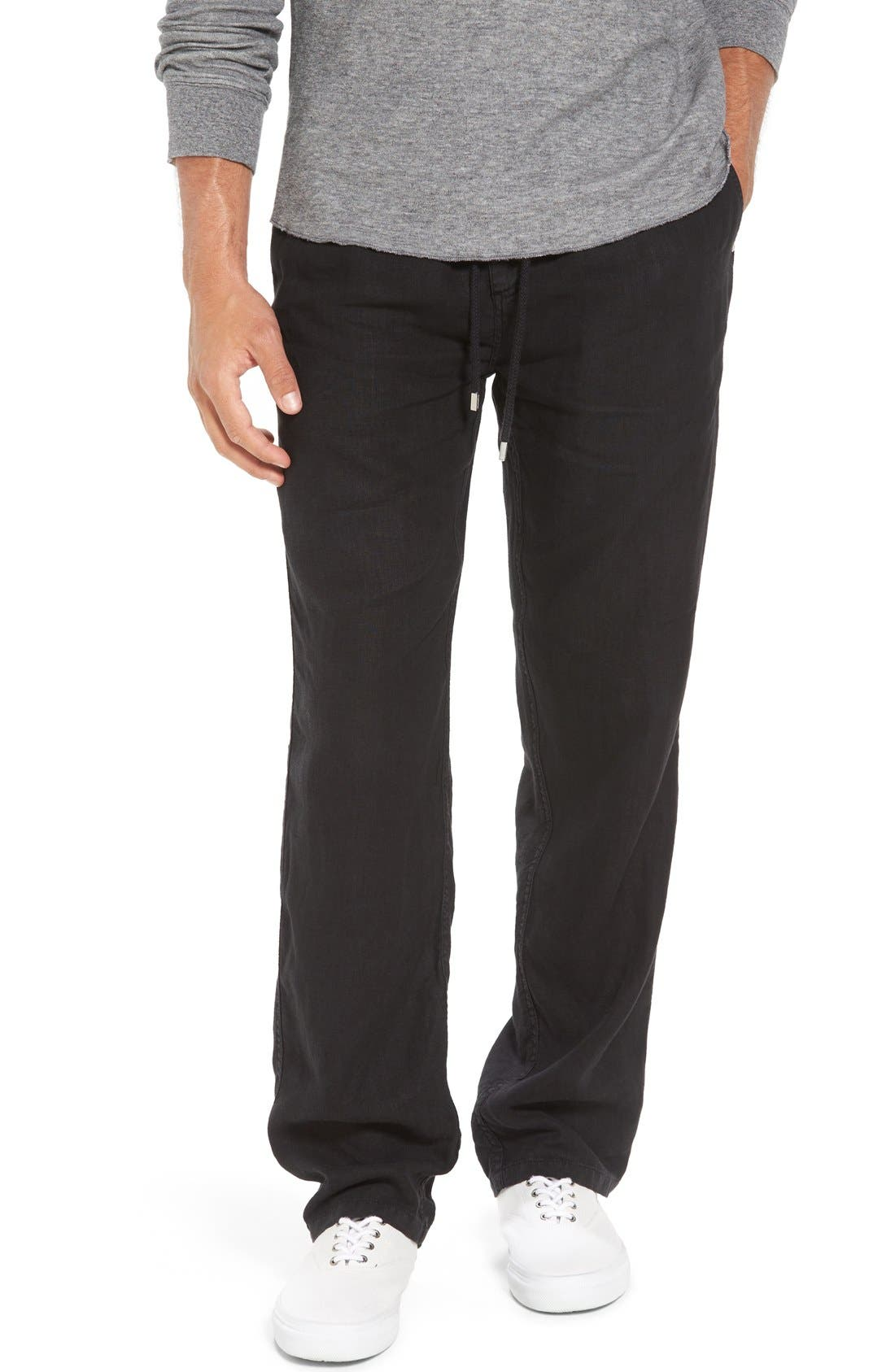 'Classic' Linen Pants,                             Main thumbnail 1, color,                             Black
