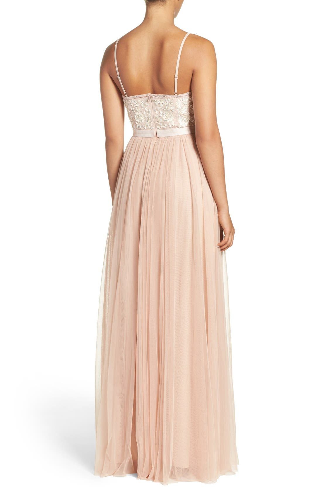 Alternate Image 2  - Needle & Thread Embroidered Bodice Tulle Gown