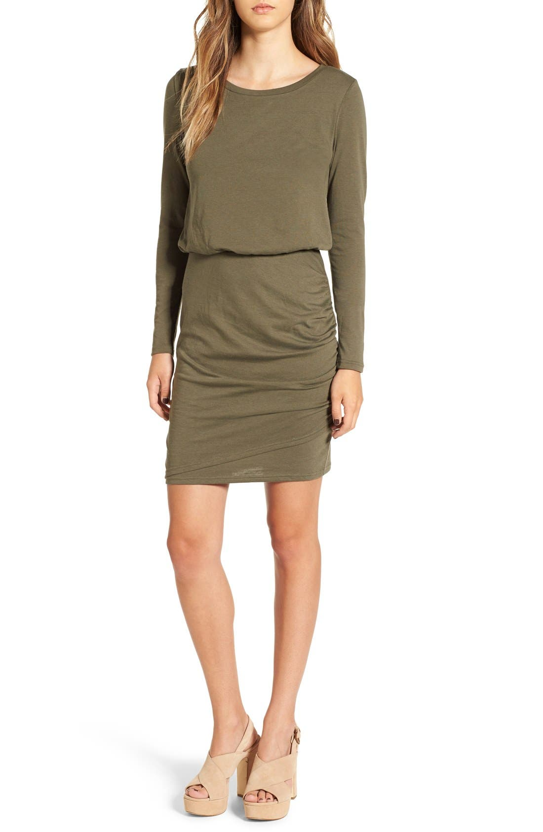Blouson Body-Con Dress,                             Main thumbnail 1, color,                             Olive Sarma
