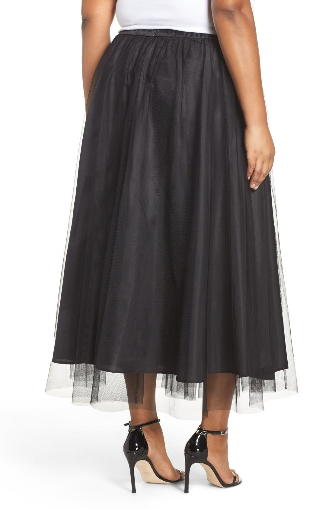 Alternate Image 2  - Alex Evenings Tulle Tea Length Skirt (Plus Size)