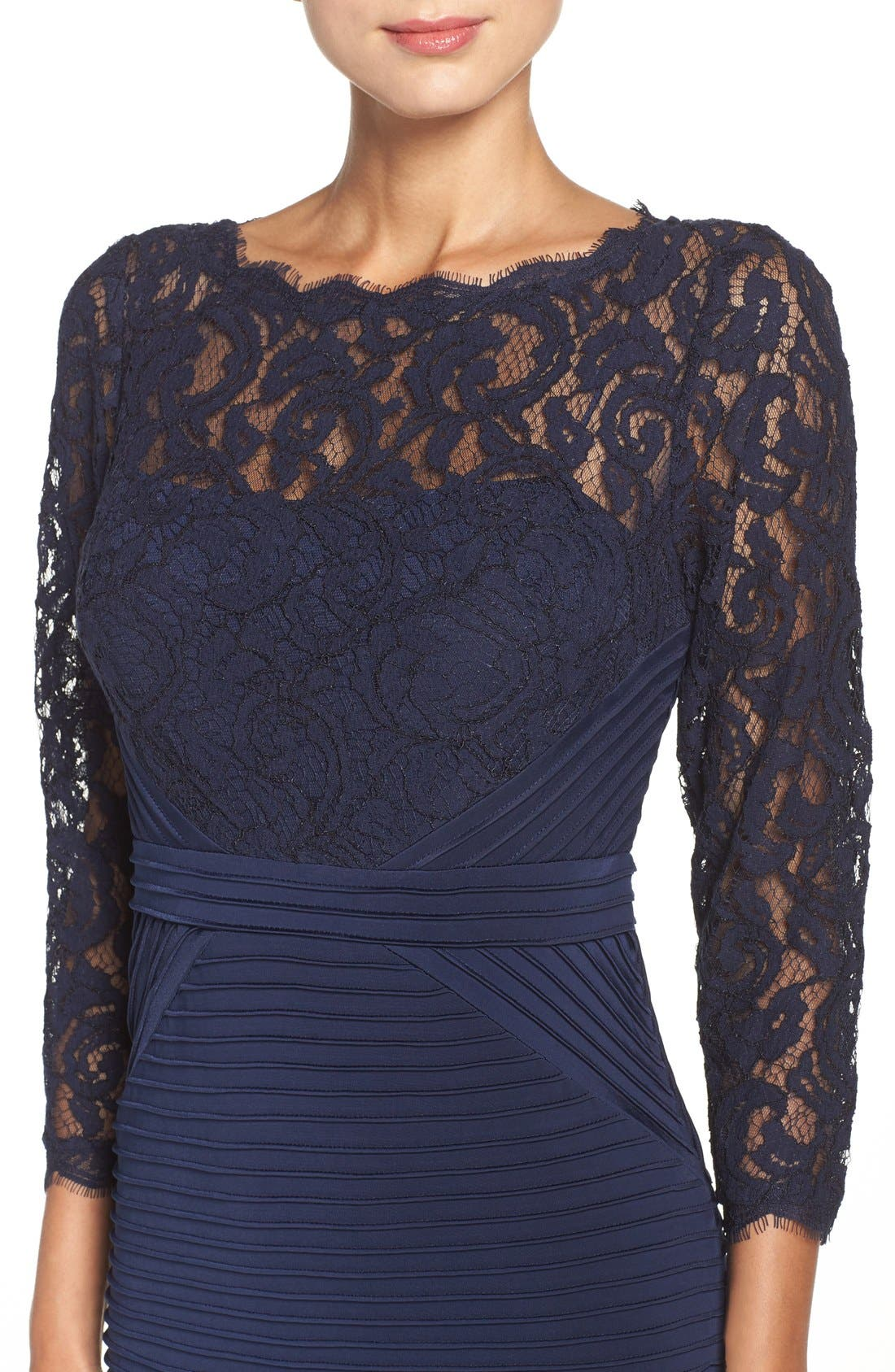 Lace & Jersey Sheath Dress,                             Alternate thumbnail 5, color,                             Midnight